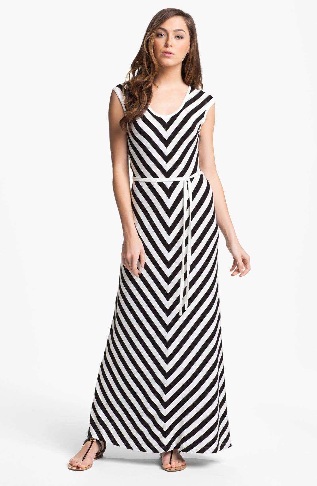 Alternate Image 1 Selected - Calvin Klein Belted Stripe Maxi Dress (Petite)