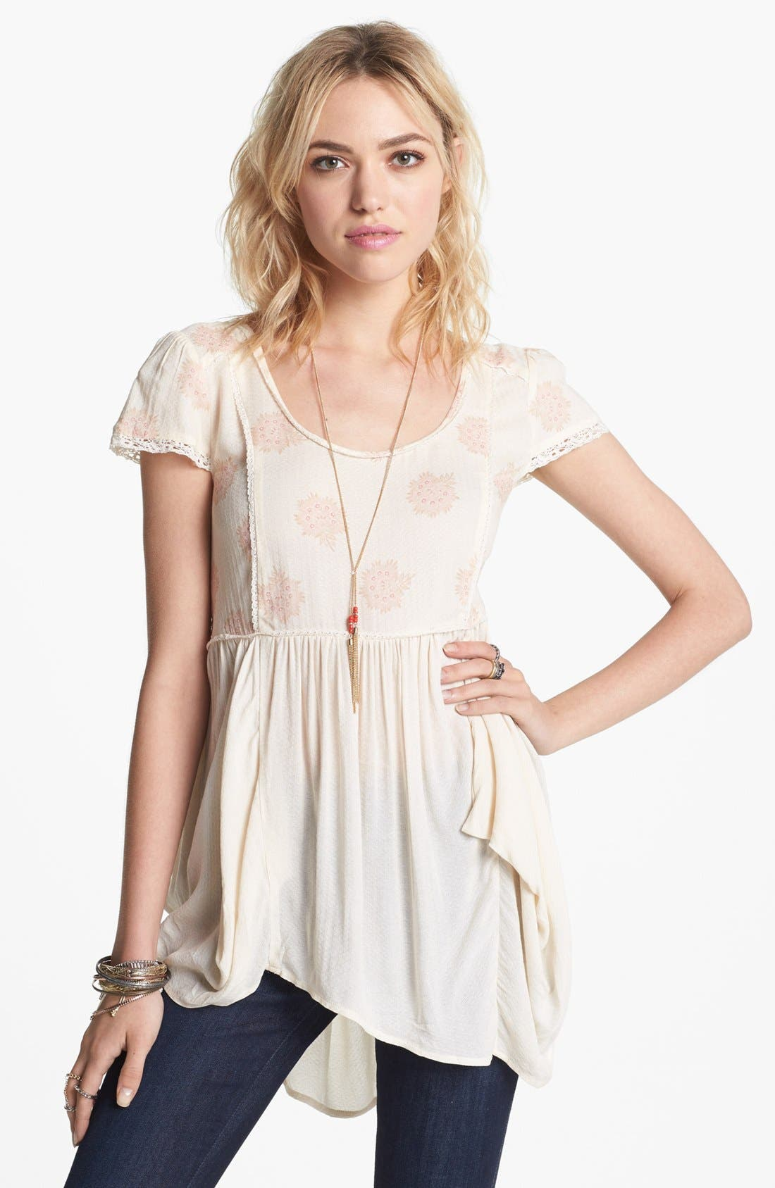 'Shake Dandelion' Babydoll Top,                         Main,                         color, Creme Combo
