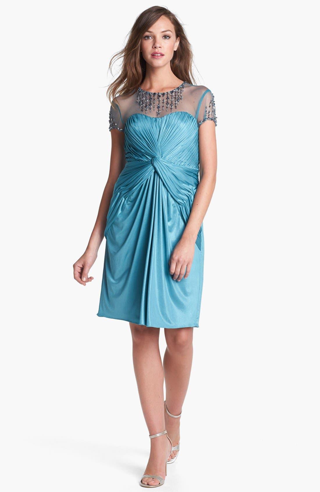 Alternate Image 2  - Adrianna Papell Embellished Front Twist Jersey Sheath Dress