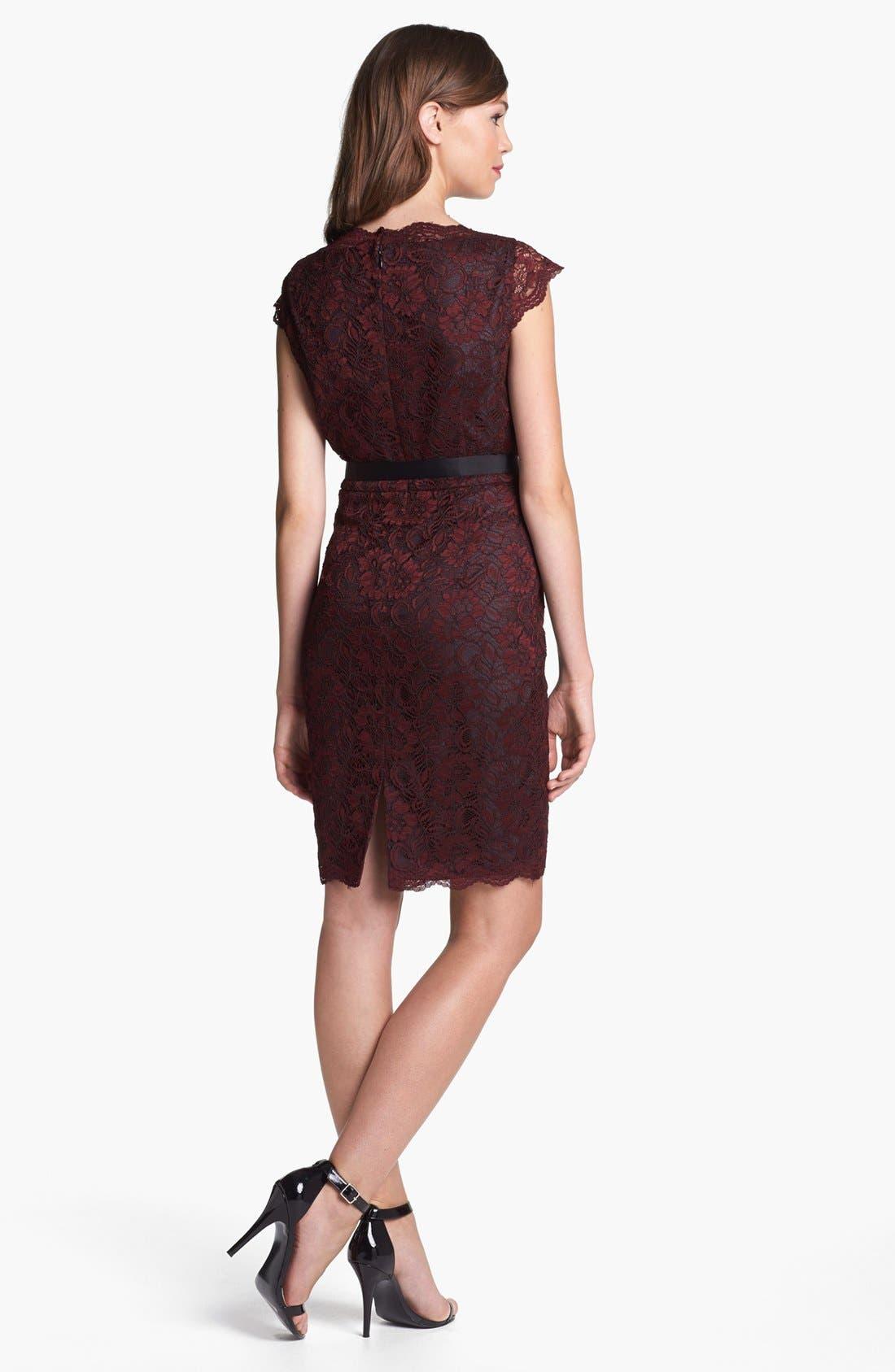 Alternate Image 2  - Calvin Klein Cap Sleeve Lace Dress