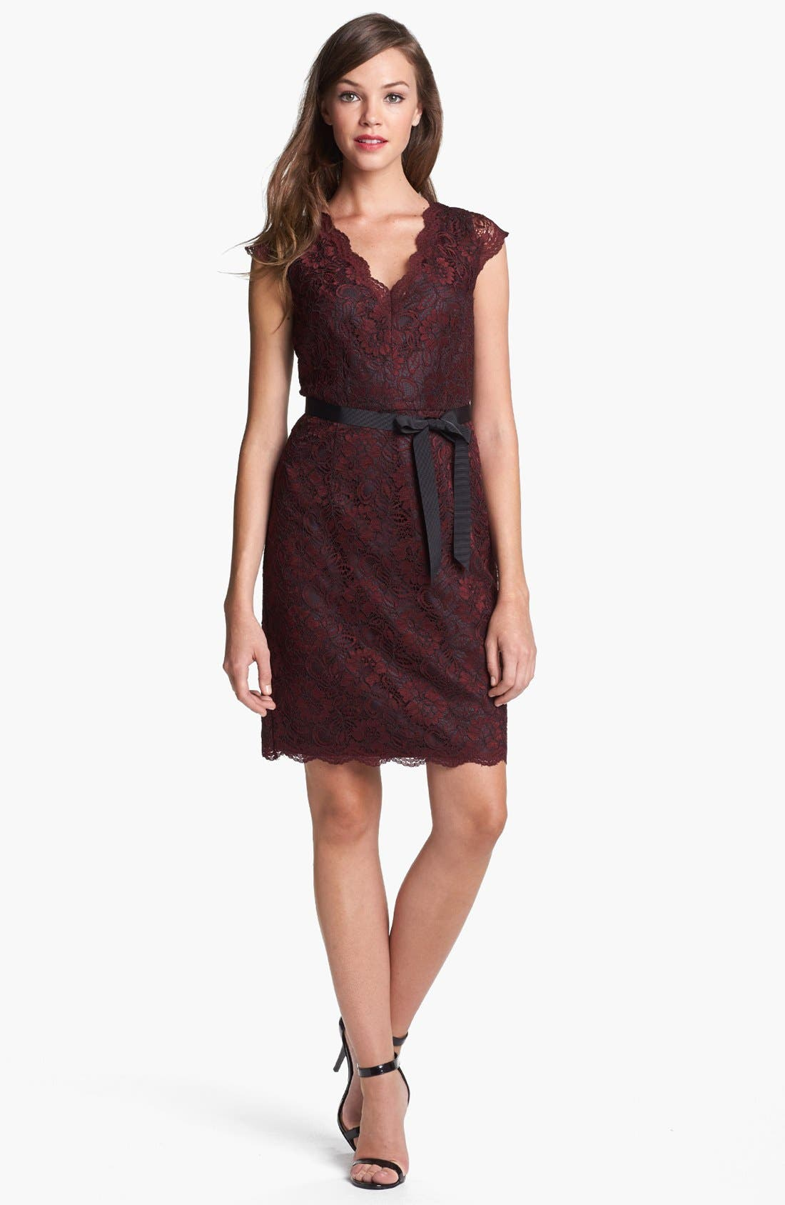 Alternate Image 1 Selected - Calvin Klein Cap Sleeve Lace Dress