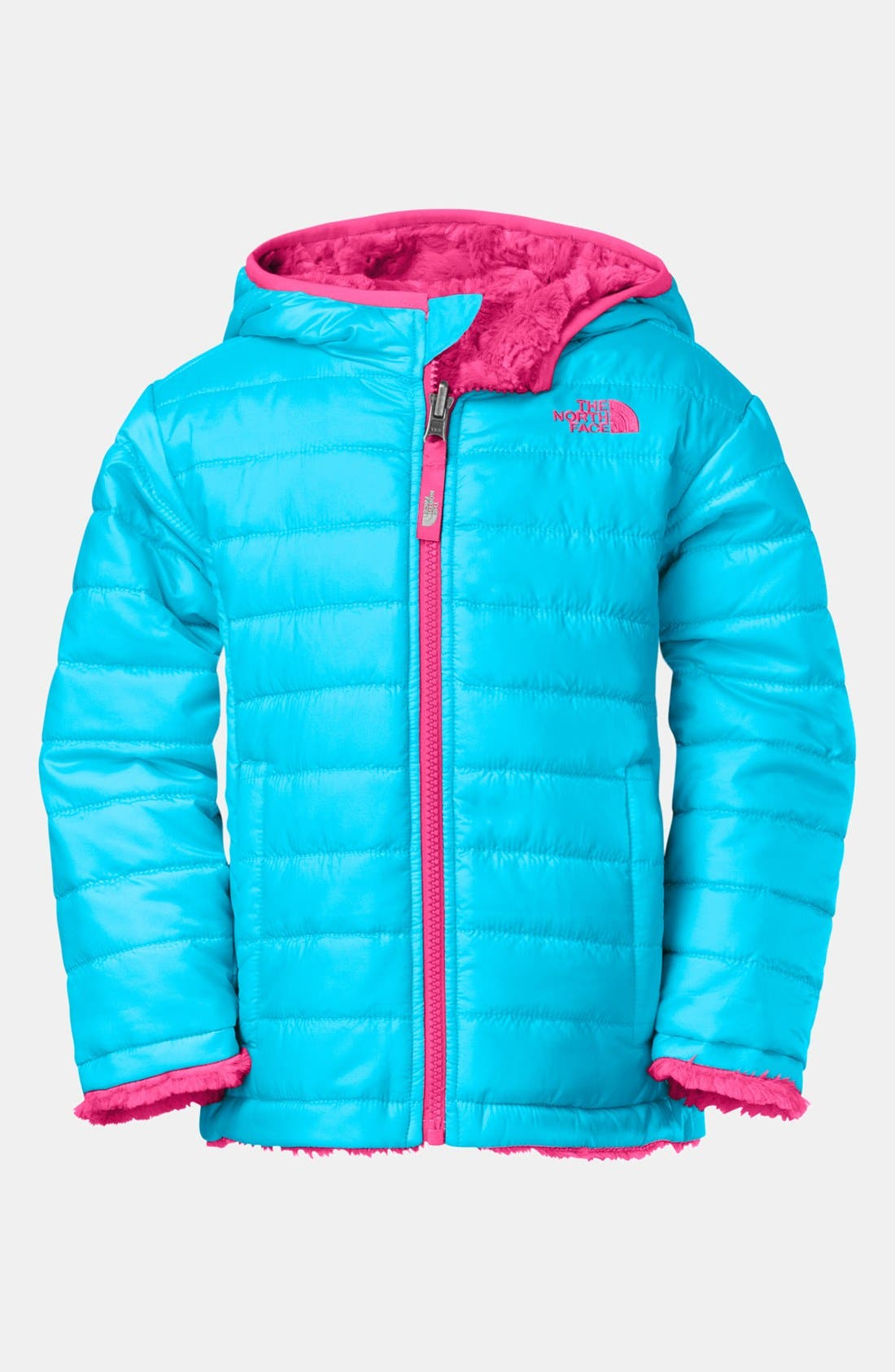 Main Image - The North Face 'Mossbud Swirl' Reversible Water Repellent Jacket(Toddler Girls)