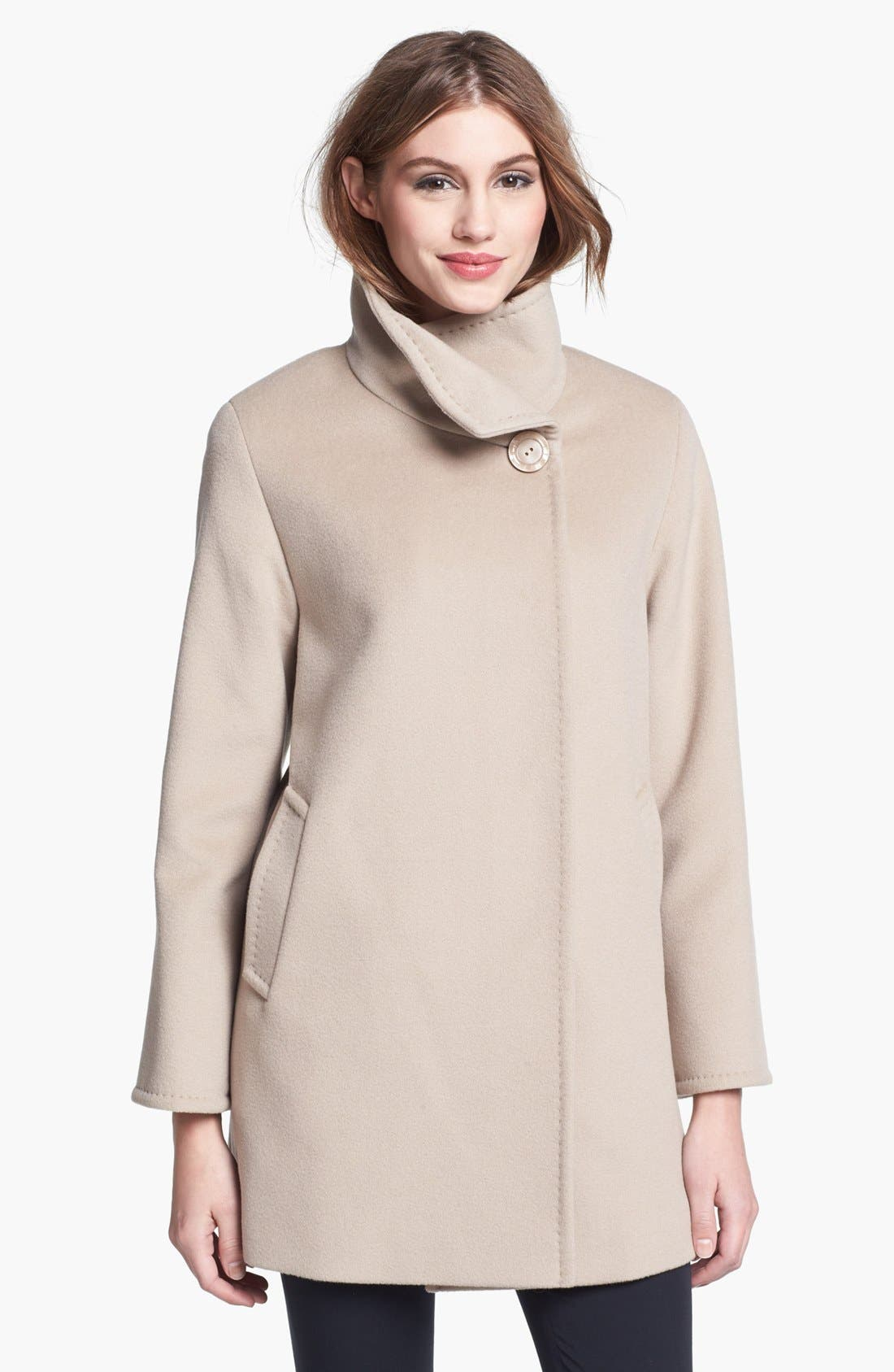 Main Image - Cinzia Rocca Due Convertible Collar Wool Coat (Petite)