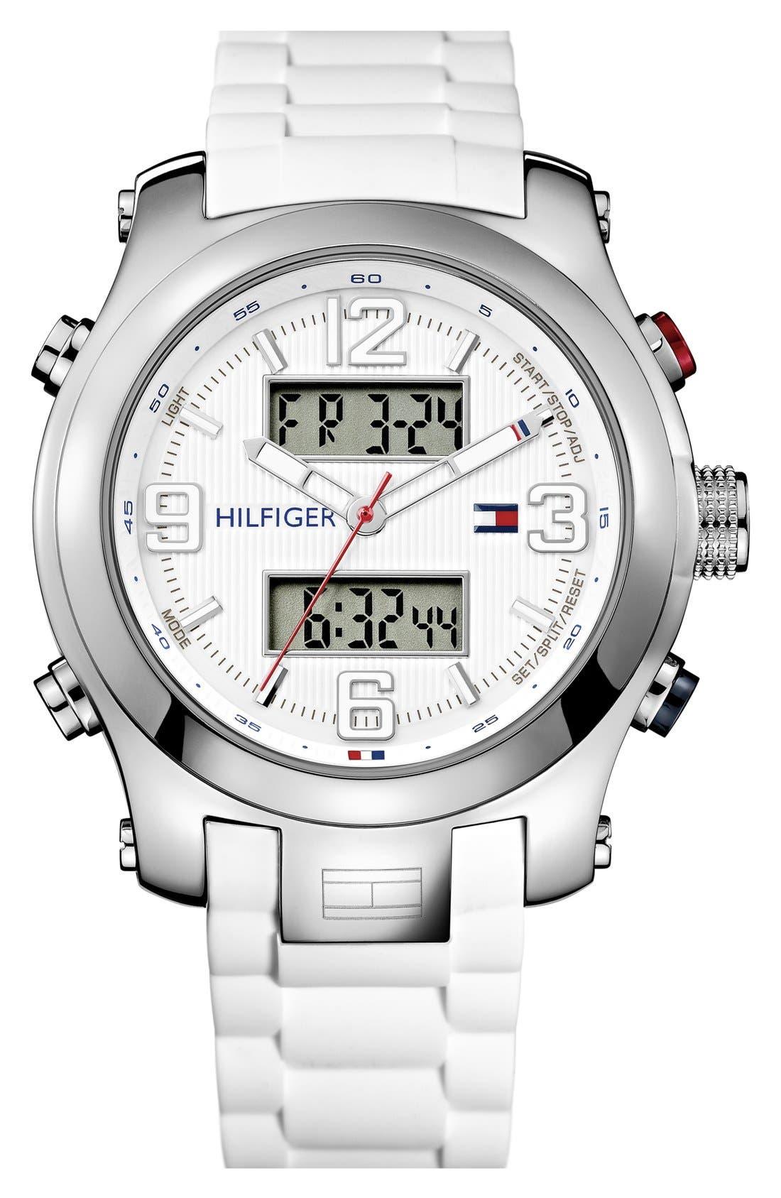 Main Image - Tommy Hilfiger Ana-Digi Silicone Strap Watch, 46mm