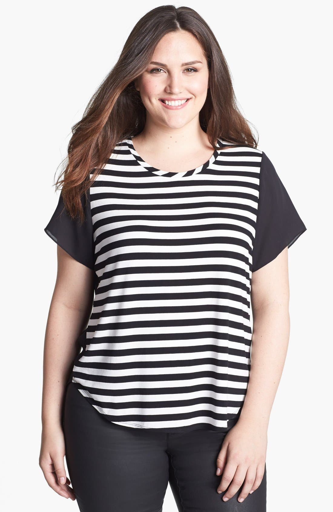 Main Image - Vince Camuto Stripe Mixed Media Tee (Plus Size)