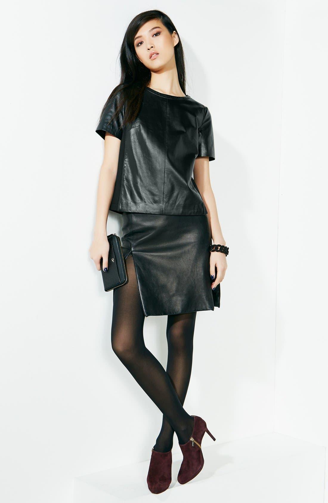 Alternate Image 5  - Halogen® Leather Front Top (Regular & Petite) (Online Only)