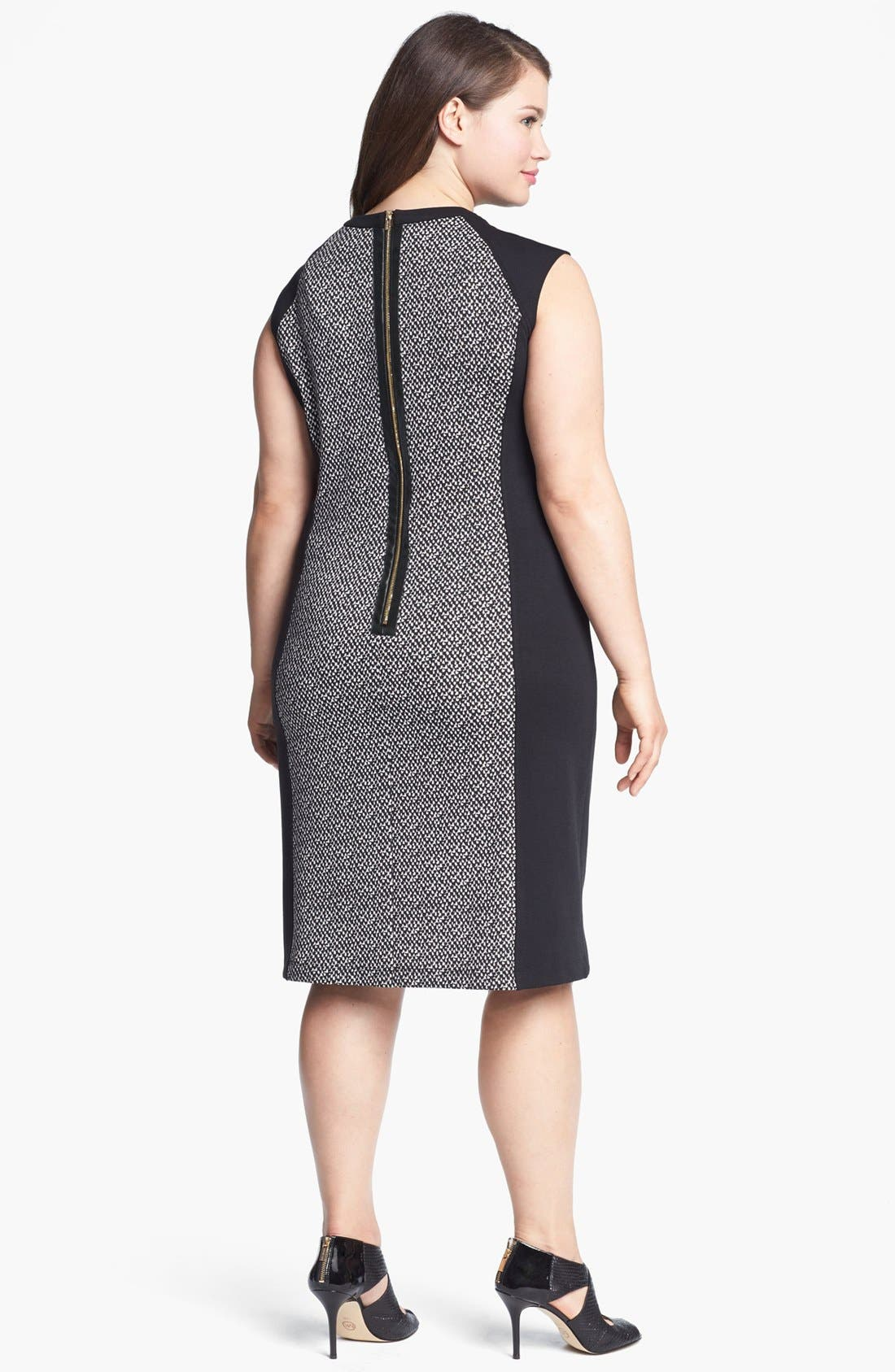Alternate Image 2  - Calvin Klein Colorblock Ponte Sheath Dress (Plus Size) (Online Only)