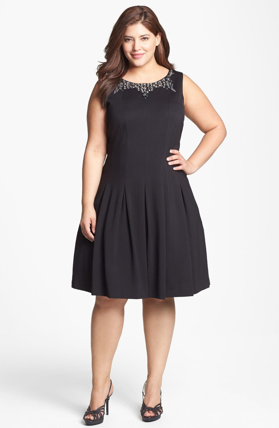 Main Image - Adrianna Papell Embellished Double Knit Fit & Flare Dress