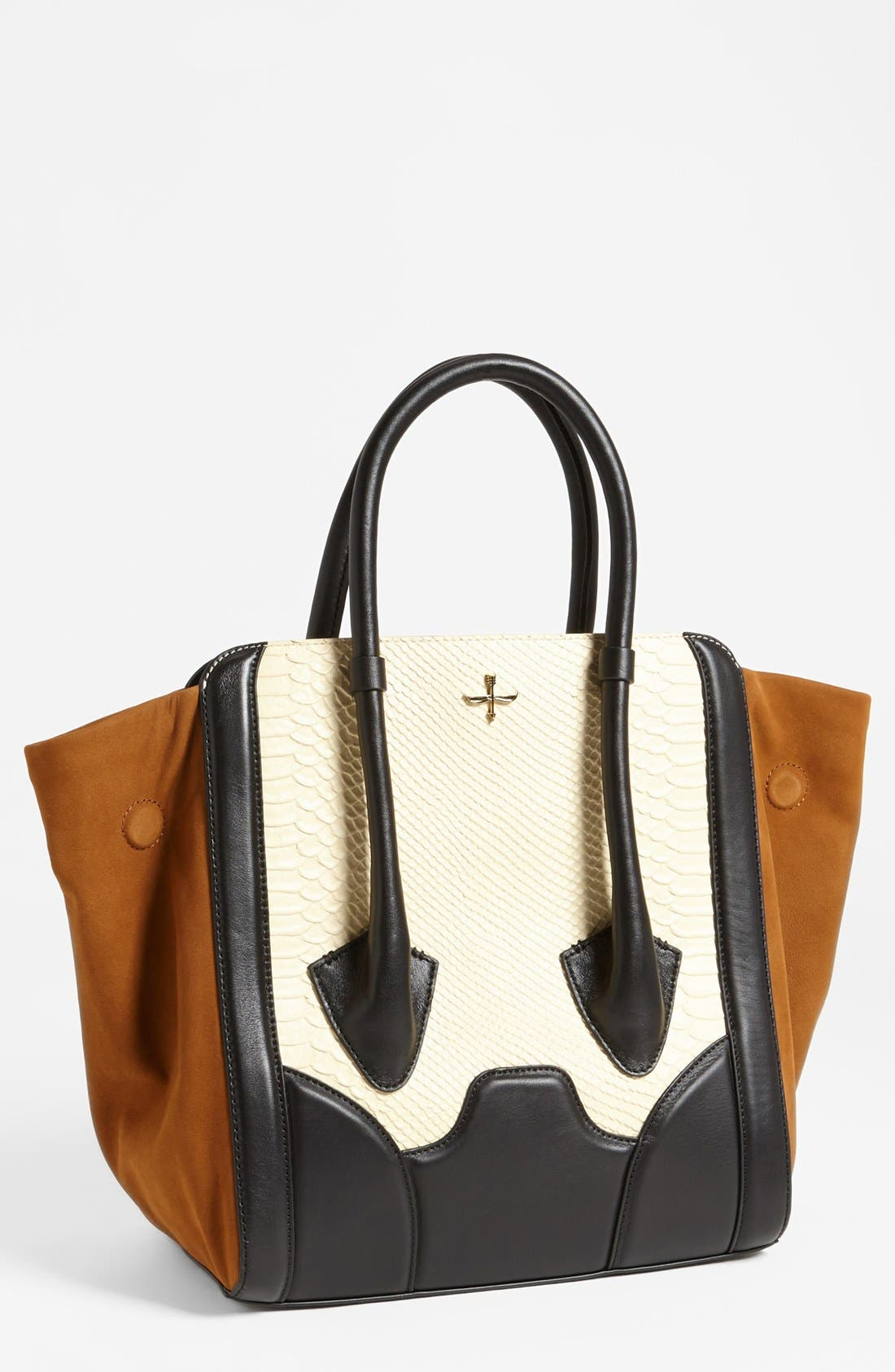 Alternate Image 1 Selected - Pour la Victoire 'Butler - Large' Snake Embossed Leather & Suede Tote