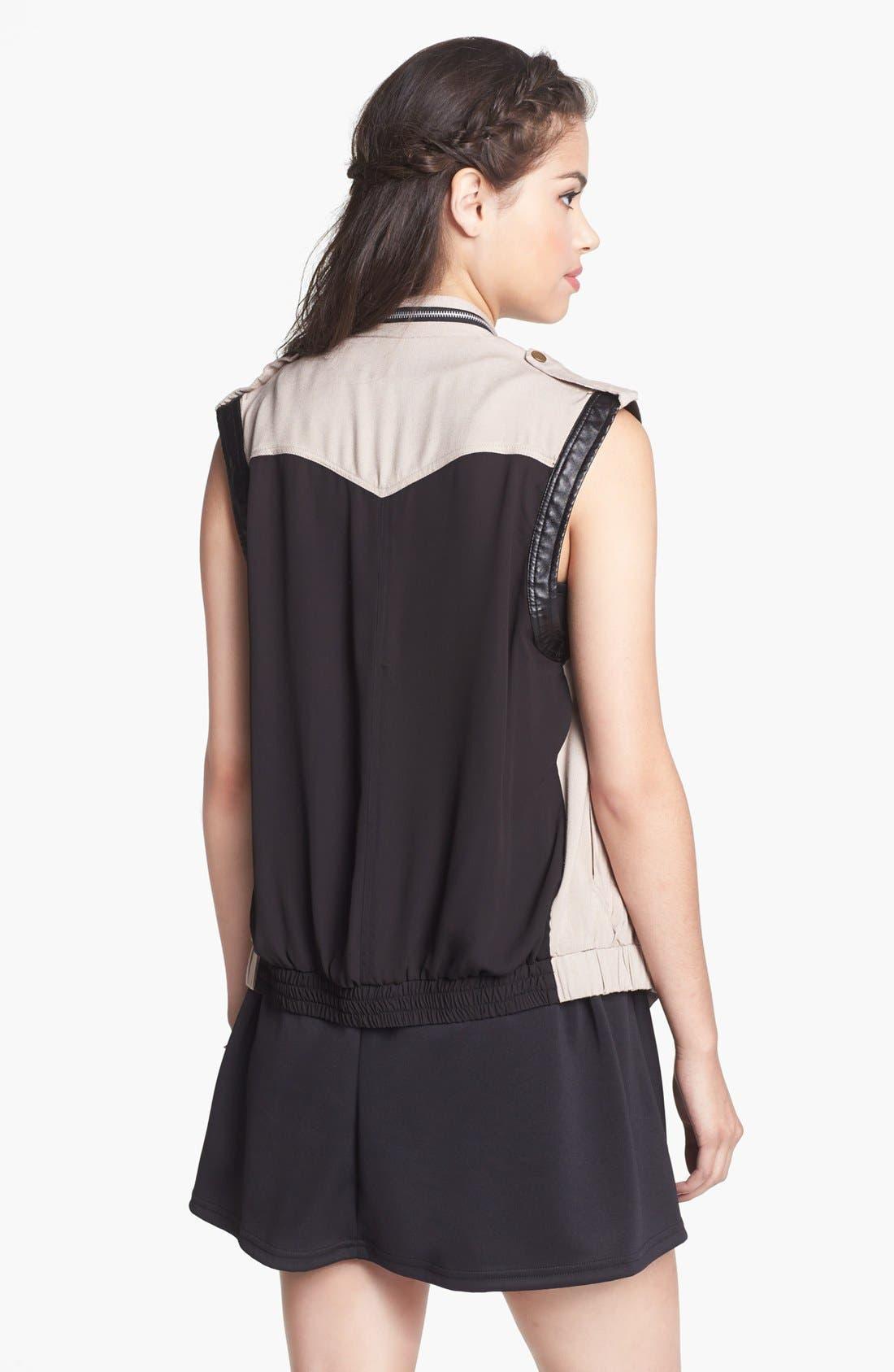 Alternate Image 2  - Living Doll Faux Leather Trim Utility Vest (Juniors)