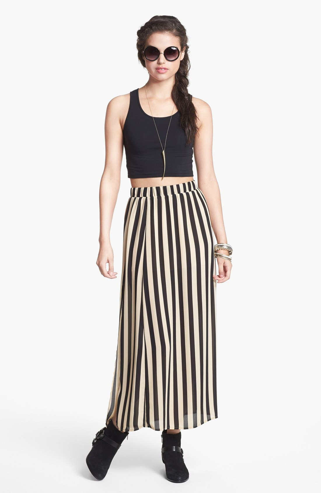 Alternate Image 1 Selected - Blu Pepper Stripe Maxi Skirt (Juniors)