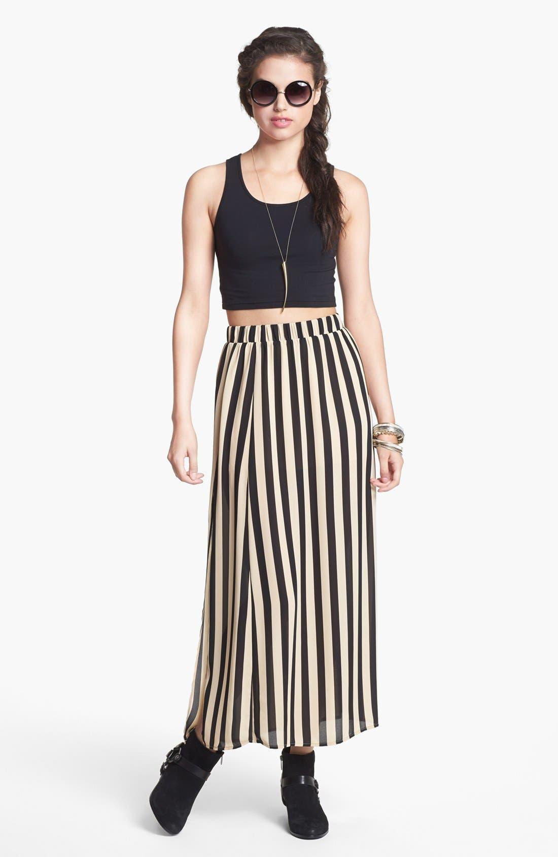 Main Image - Blu Pepper Stripe Maxi Skirt (Juniors)