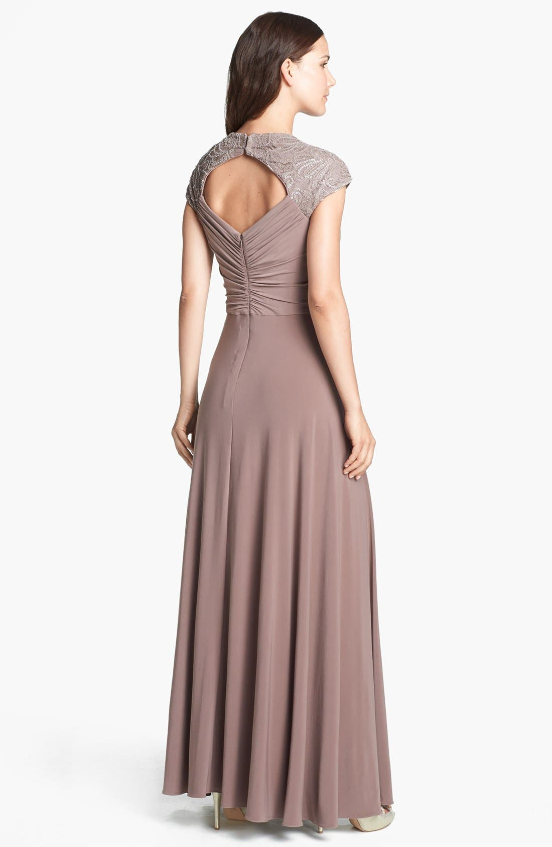 Alternate Image 2  - Patra Embellished Sequin Yoke Jersey Gown (Regular & Petite)