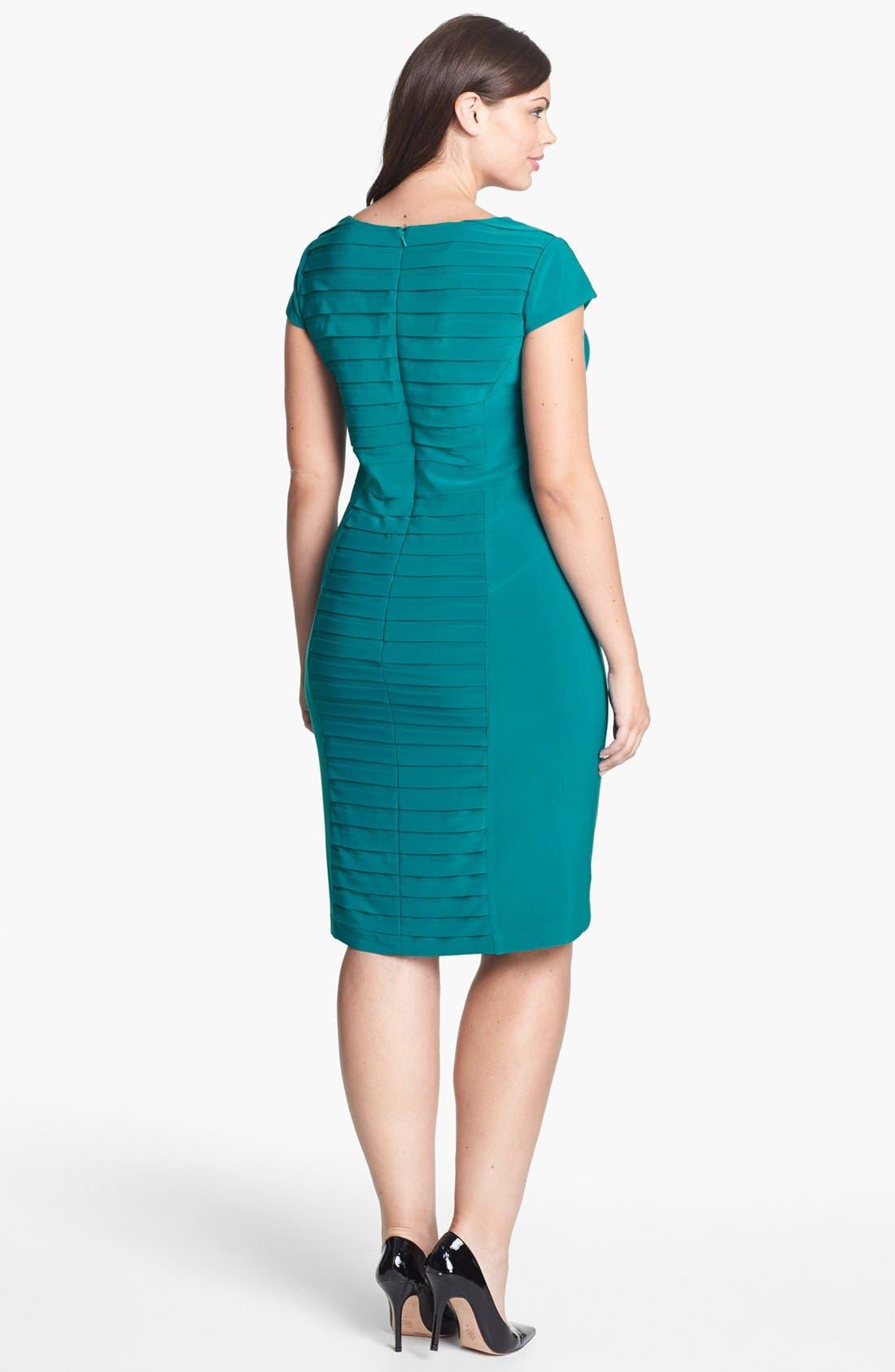 Alternate Image 2  - Adrianna Papell Partial Pleat Jersey Sheath Dress (Plus Size)