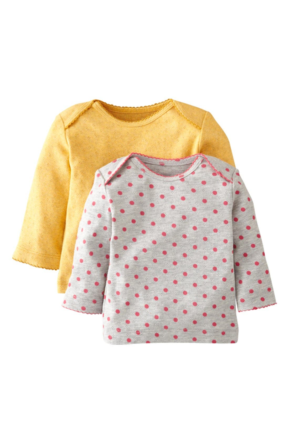 Alternate Image 1 Selected - Mini Boden Pointelle Tee (2-Pack) (Baby Girls)