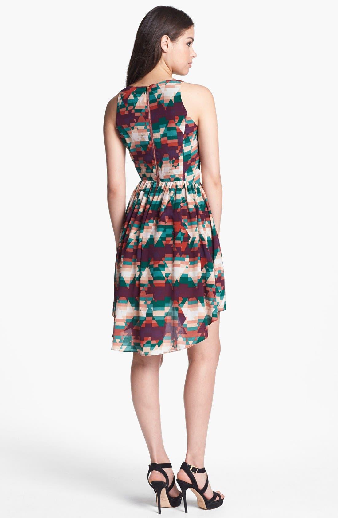 Alternate Image 2  - Line & Dot Print High/Low Silk Dress