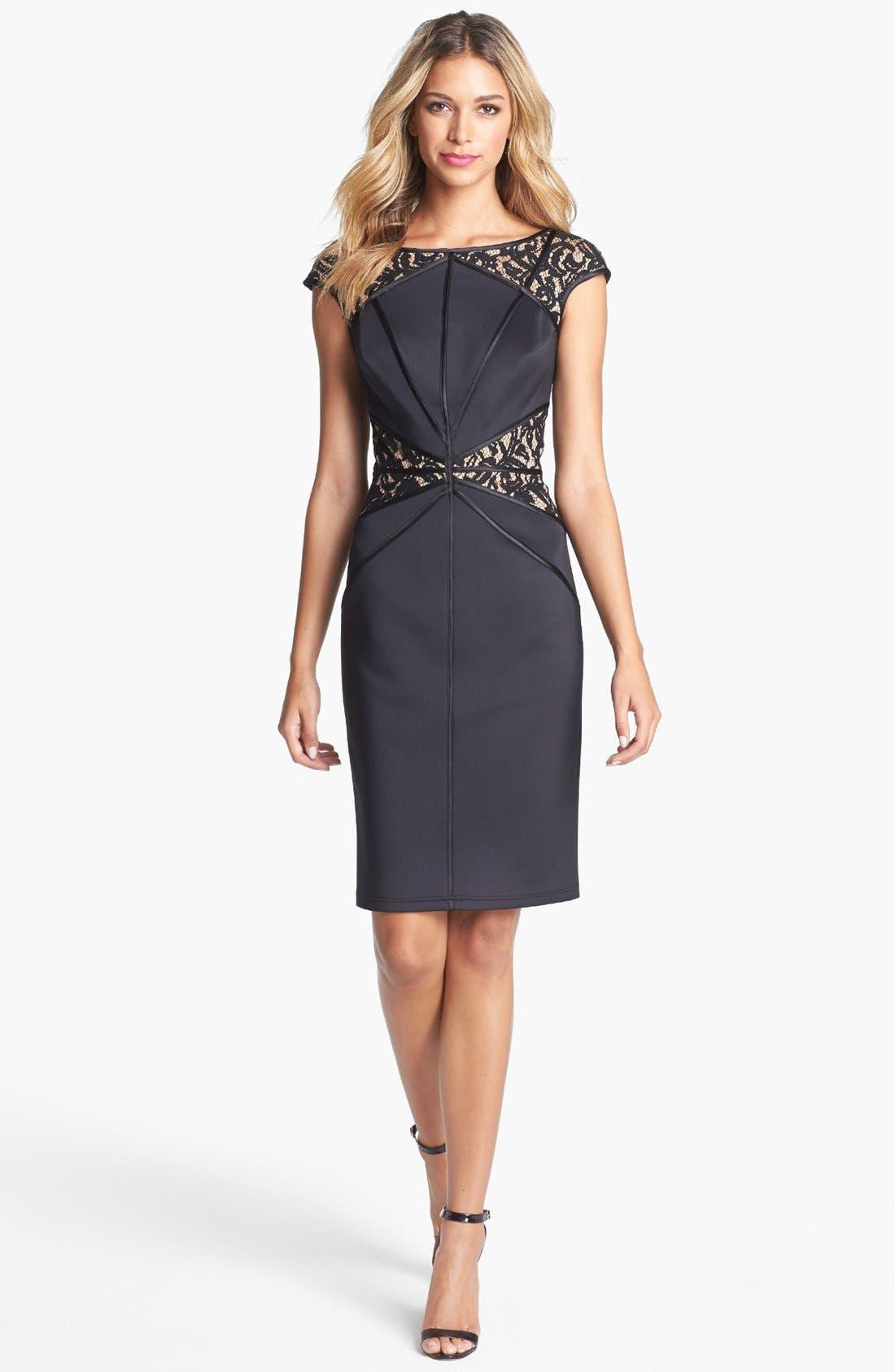 Alternate Image 1 Selected - Tadashi Shoji Lace Inset Jersey Sheath Dress