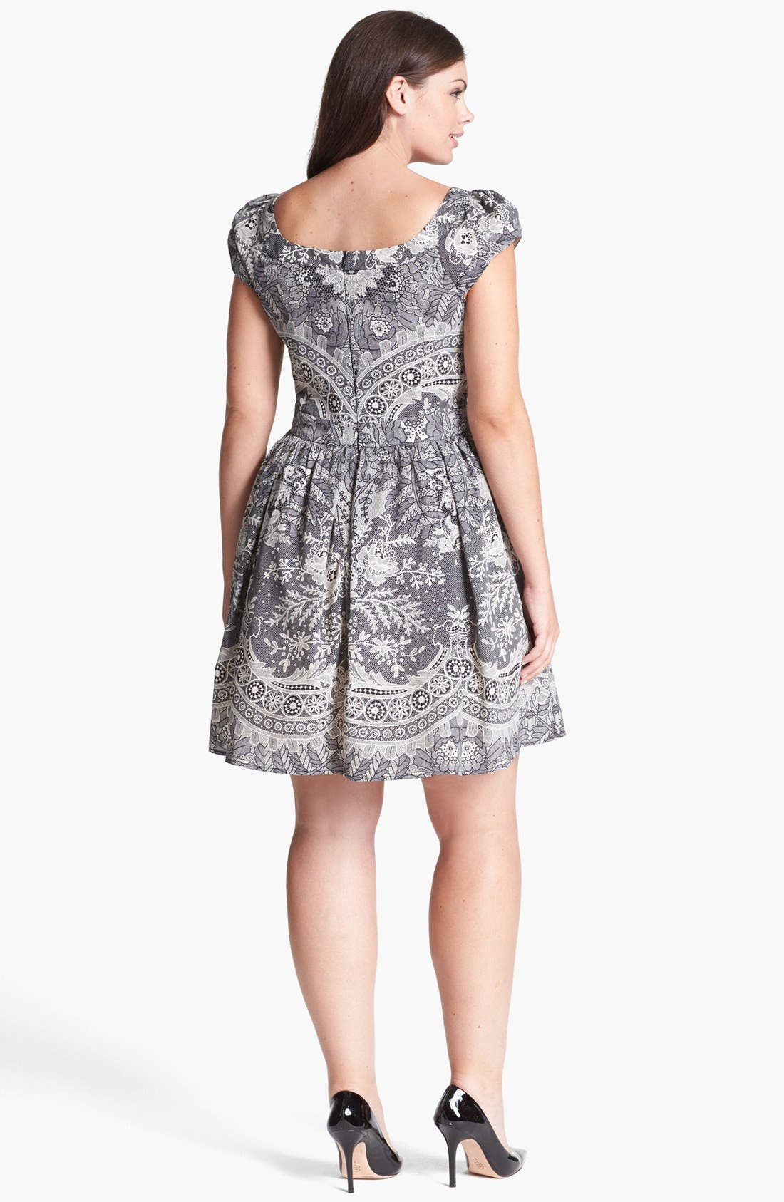 Alternate Image 2  - ABS by Allen Schwartz Lace Print Fit & Flare Dress (Plus Size)