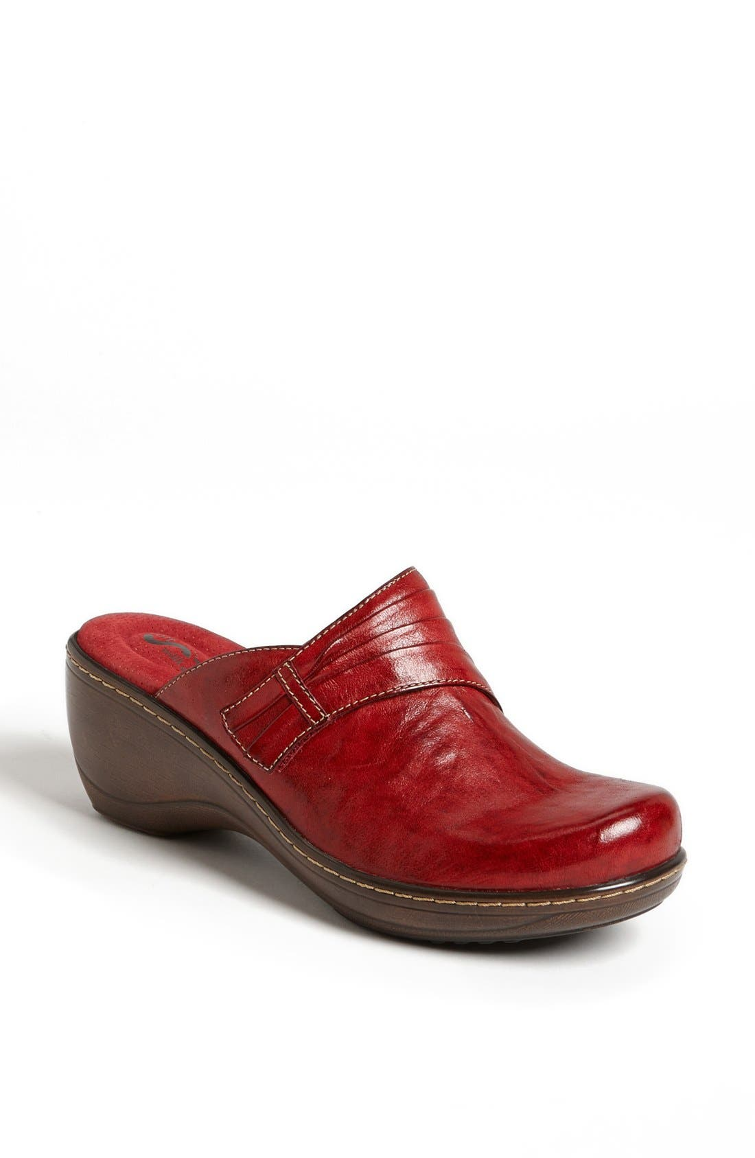'Mason' Clog,                             Main thumbnail 1, color,                             Red Leather