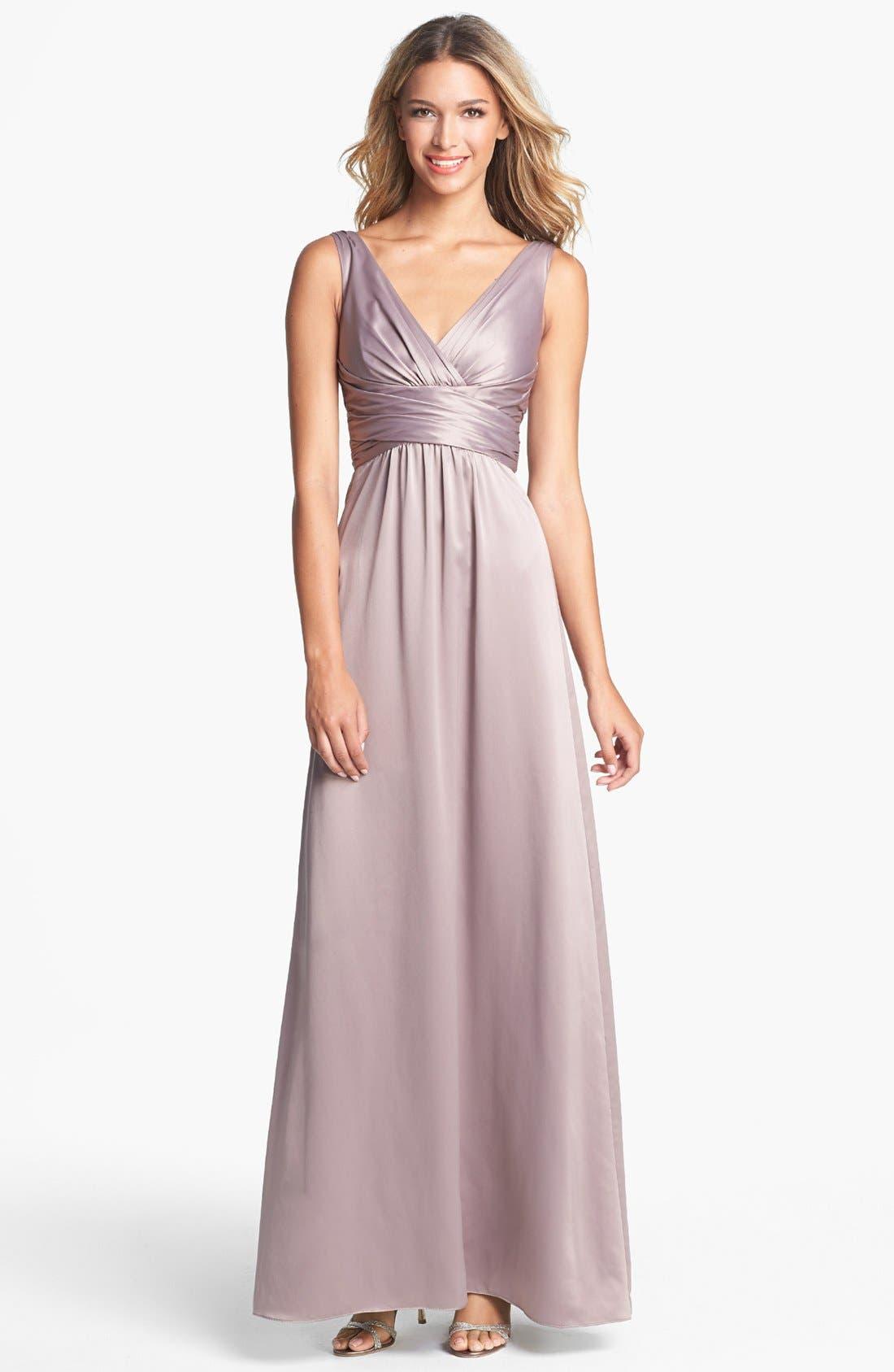 Main Image - Amsale Long Charmeuse Dress