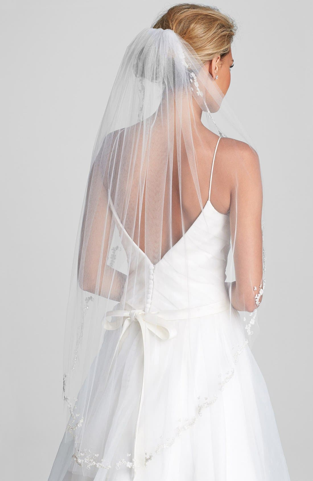 'Mary Kate' Embroidered Veil,                         Main,                         color, Ivory
