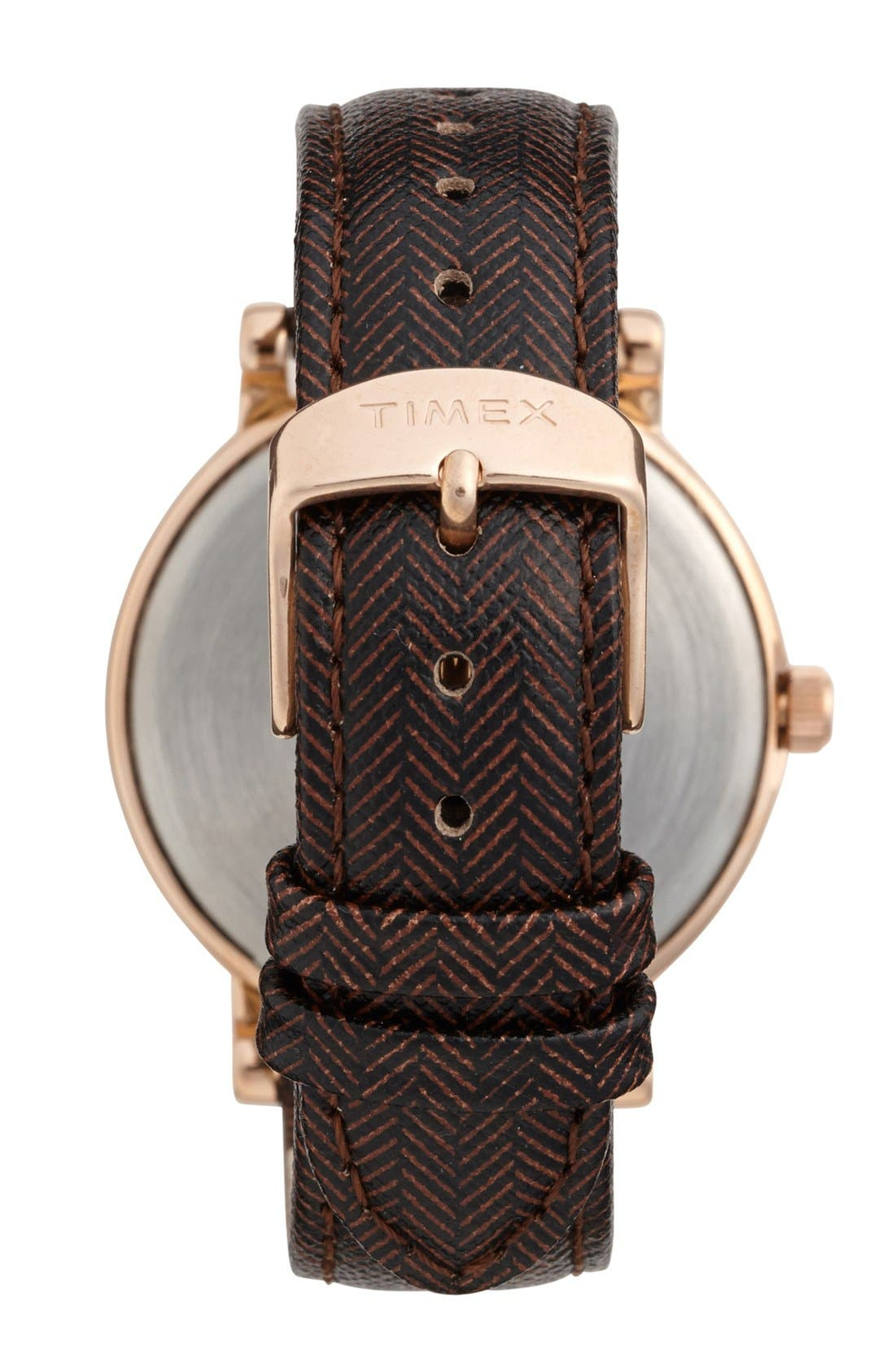 Round Tweed Print Leather Strap Watch, 38mm,                             Alternate thumbnail 2, color,                             Brown/ Rose Gold
