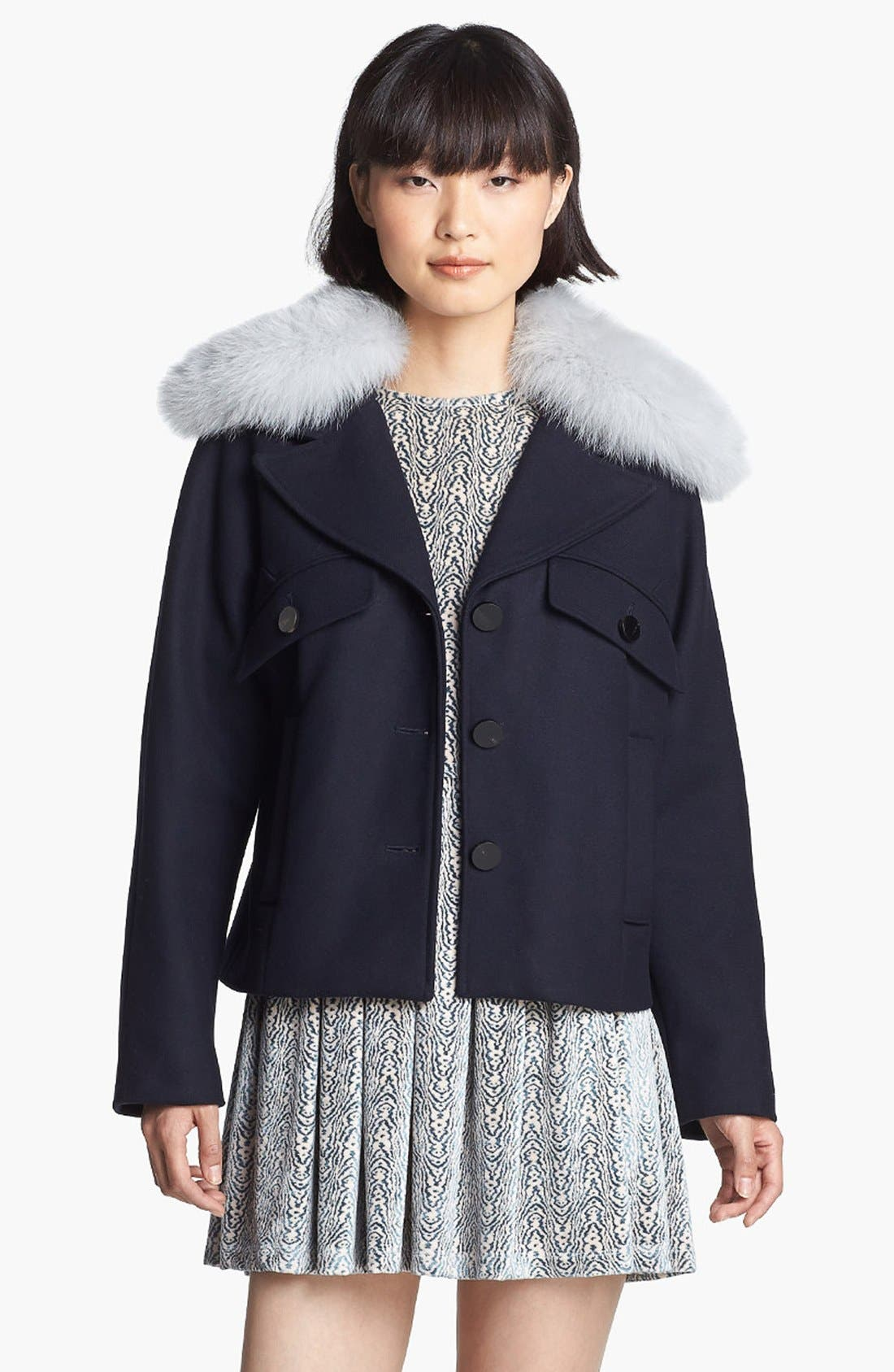 Wool Coat with Genuine Fox Fur Trim,                         Main,                         color, Navy