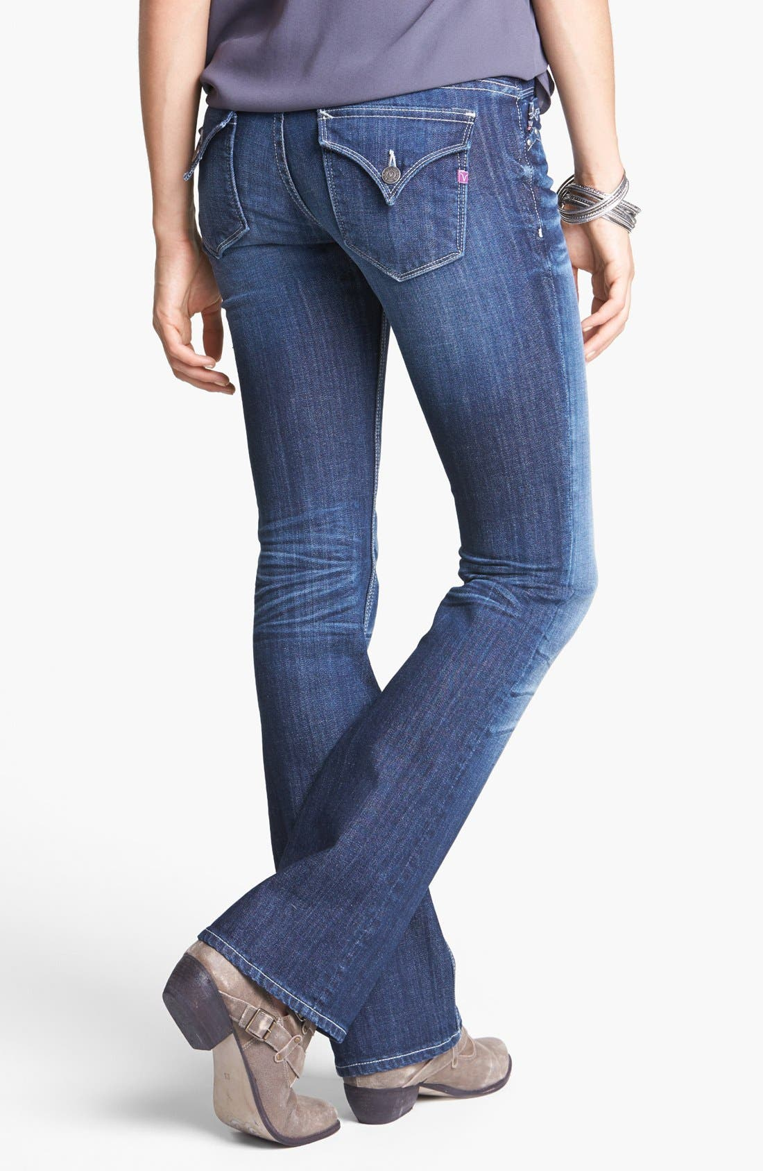 Alternate Image 1 Selected - Vigoss Flap Pocket Bootcut Jeans (Dark) (Juniors)