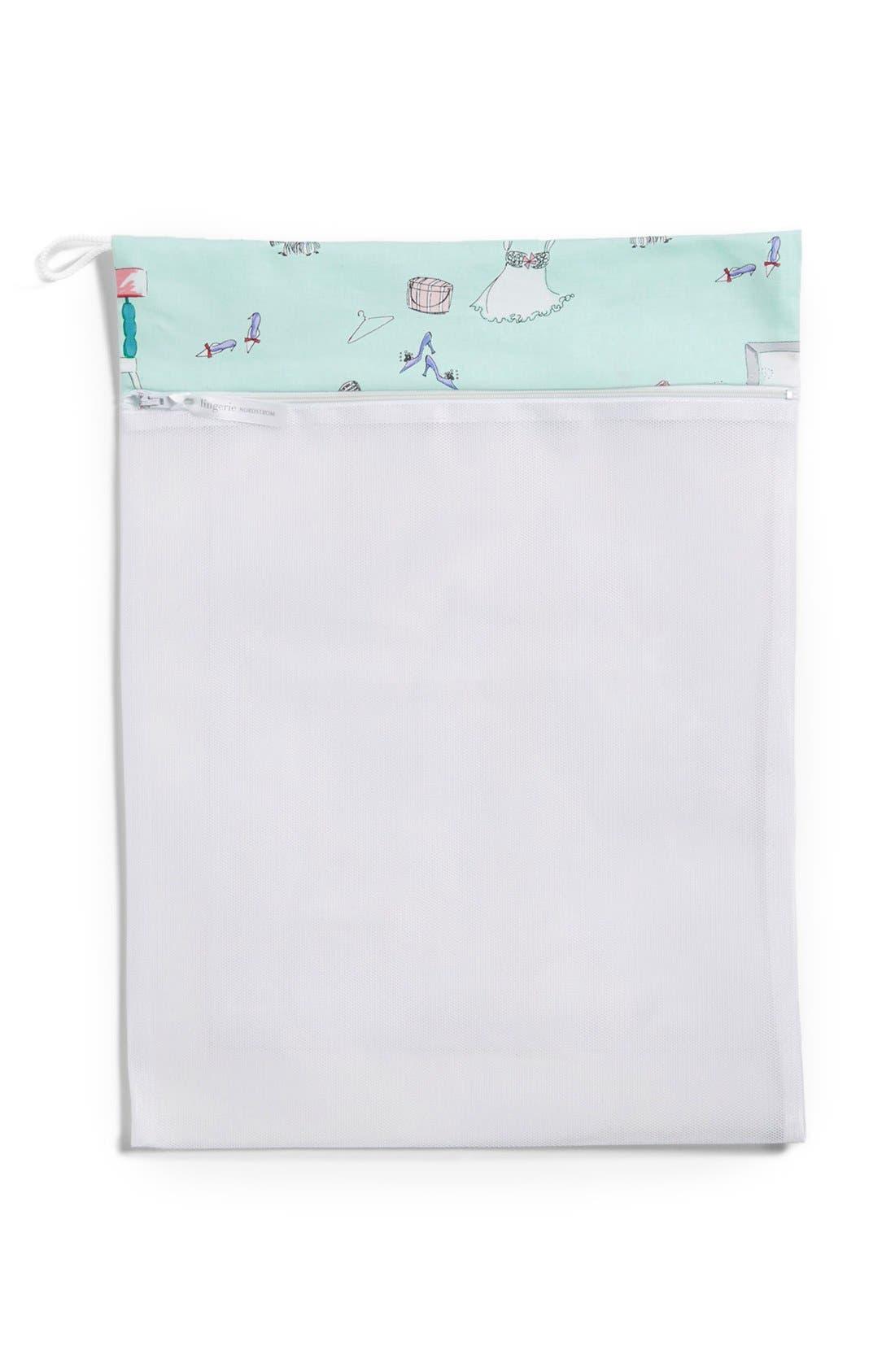 Main Image - Nordstrom Intimates Print Trim Lingerie Wash Bag