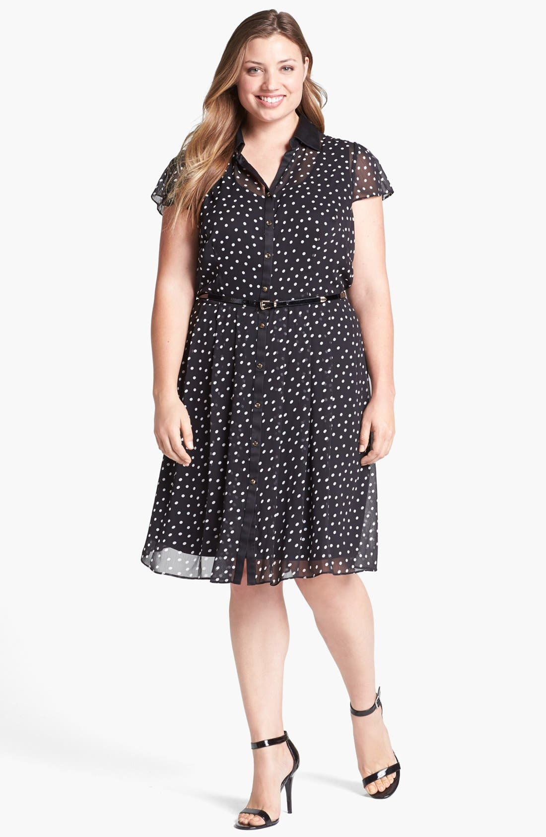 Main Image - Donna Ricco Polka Dot Chiffon Shirtdress (Plus Size)