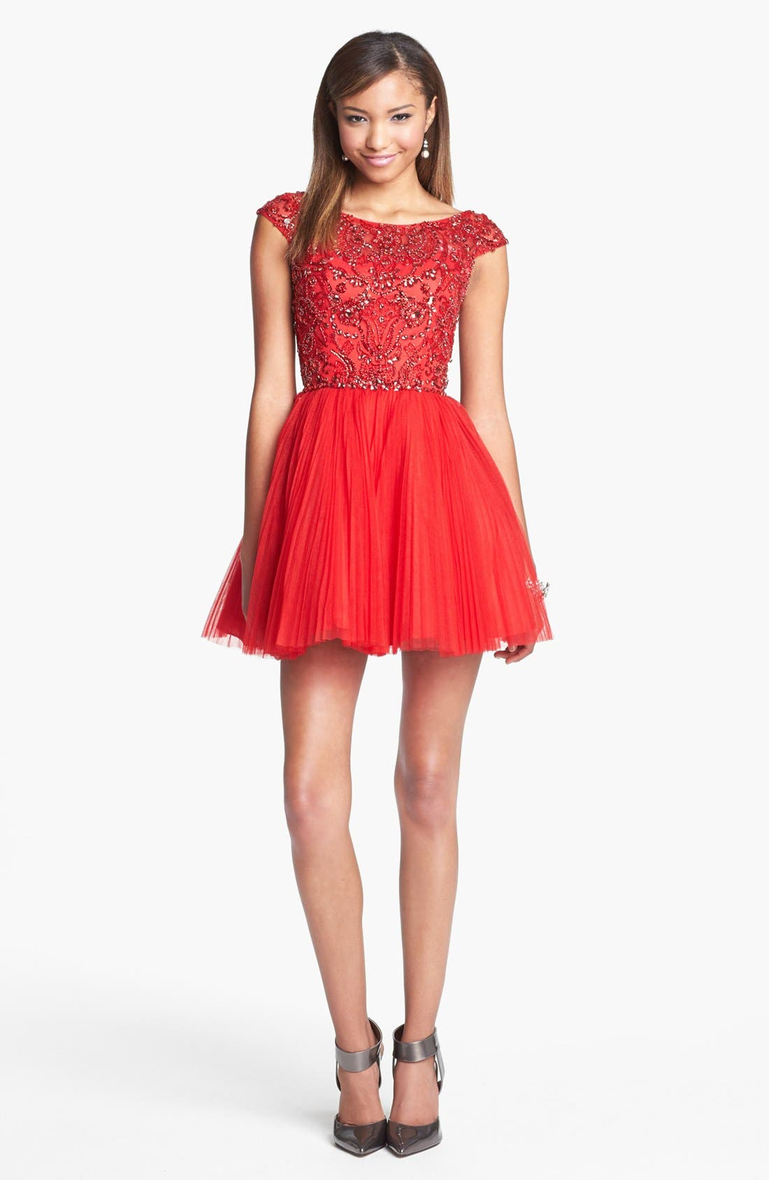 Alternate Image 1 Selected - Sherri Hill Embellished Tulle Fit & Flare Dress (Online Exclusive)