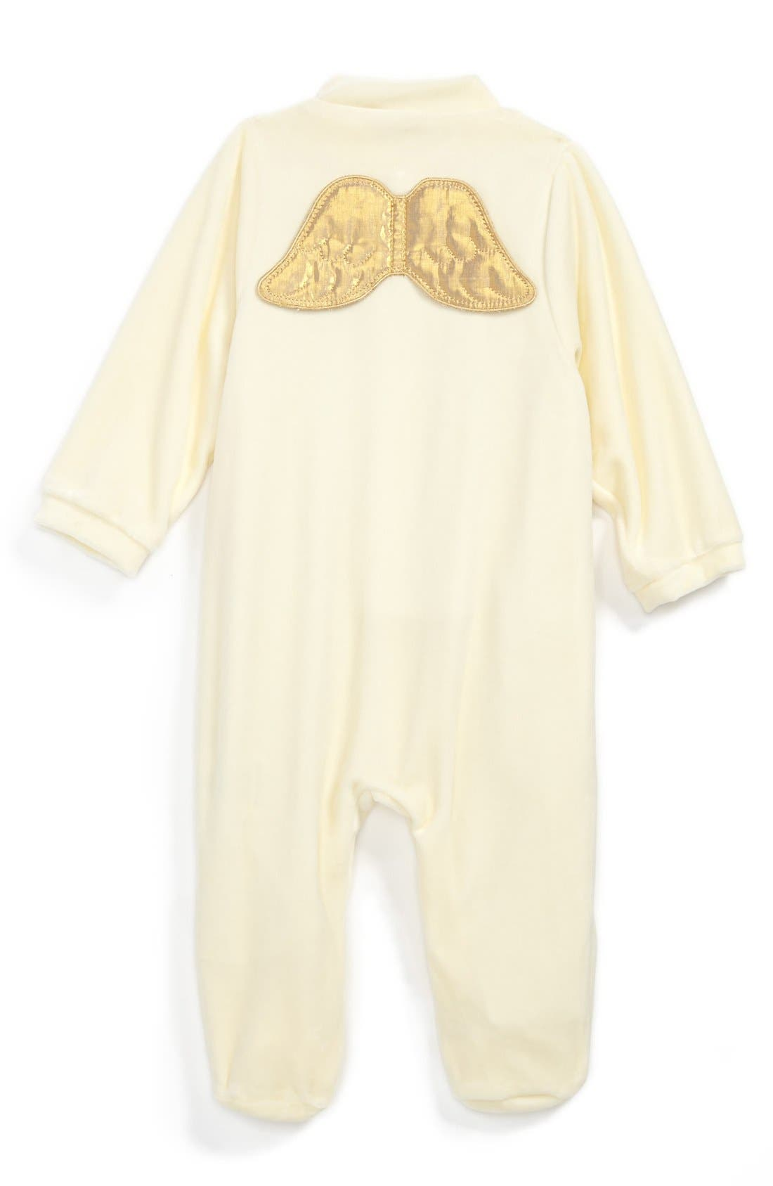 Main Image - Marie-Chantal 'Angel Wing' Velour Footie (Baby Girls)