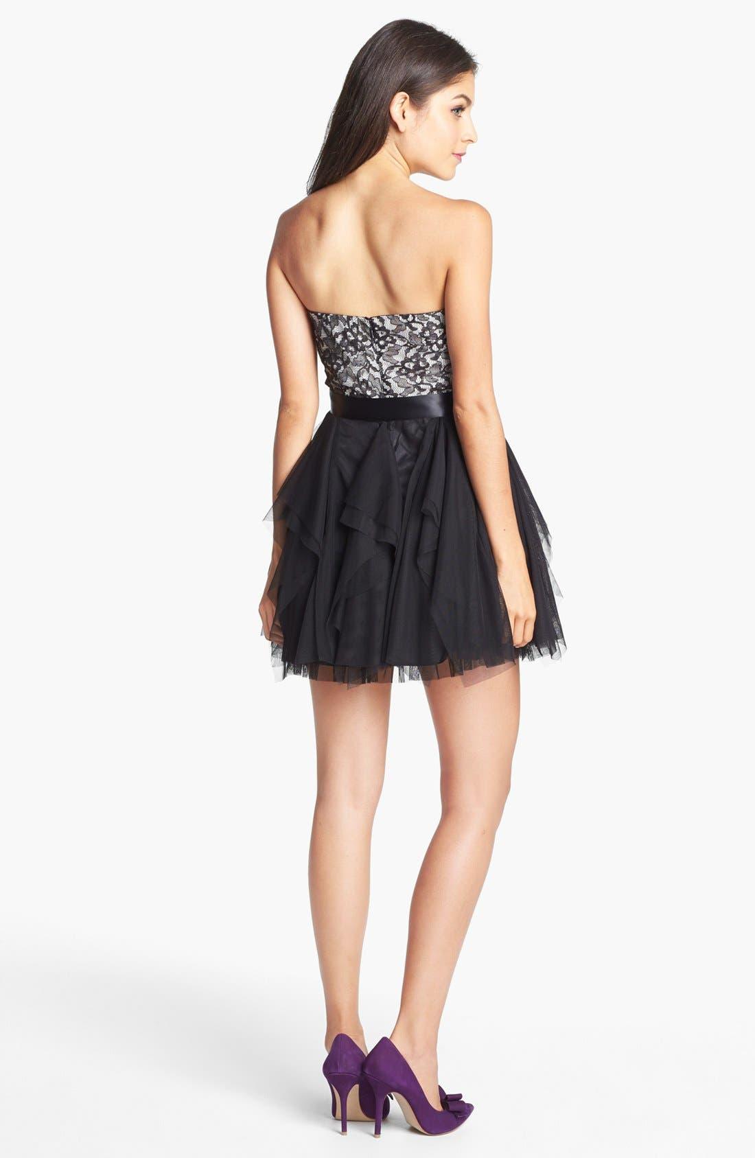 Alternate Image 2  - Secret Charm Lace Fit & Flare Dress (Juniors) (Online Only)