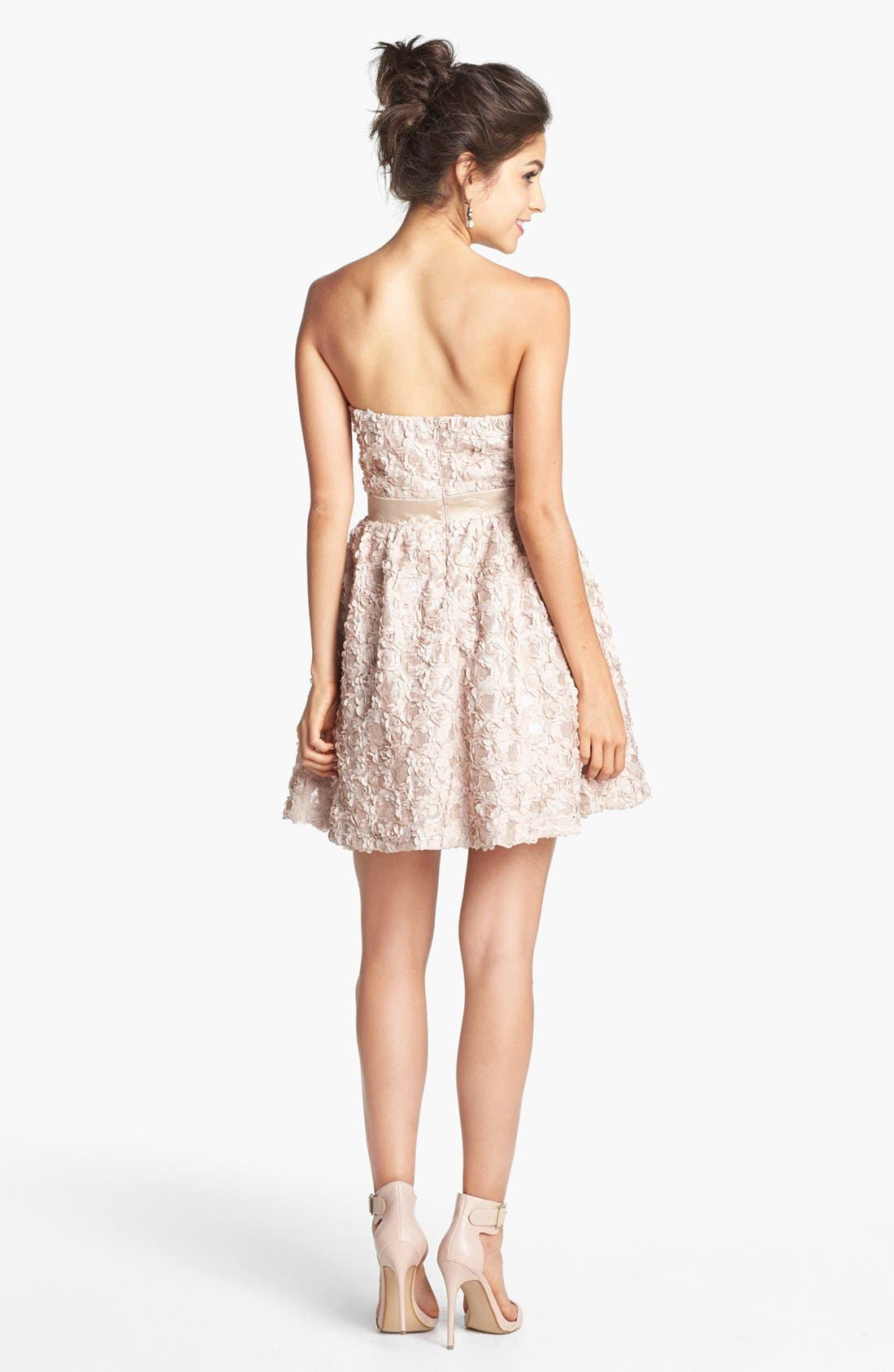 Alternate Image 2  - As U Wish Embellished Rosette Strapless Dress (Juniors) (Online Only)