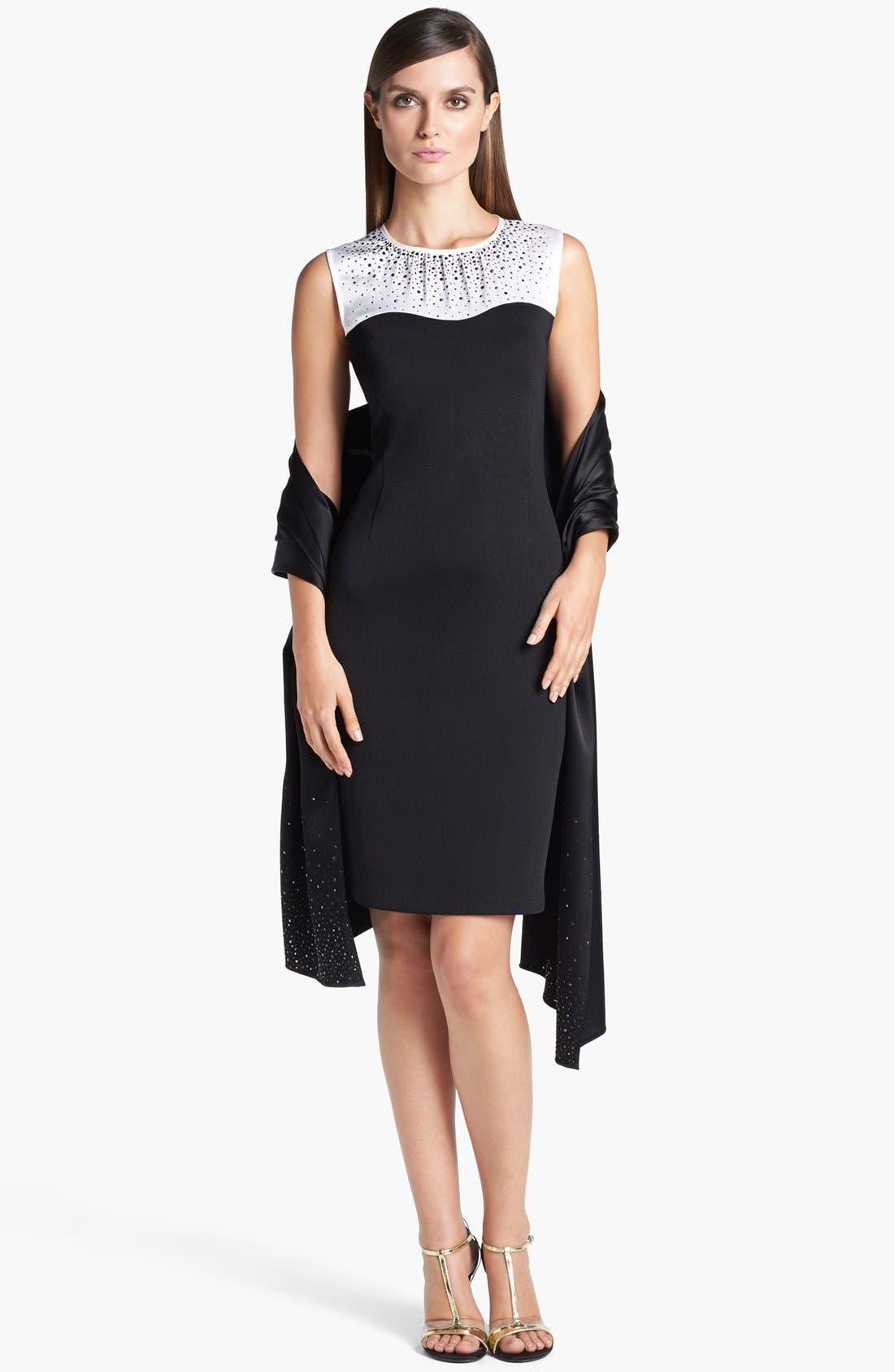 Main Image - St. John Collection Satin Yoke Milano Knit Sheath Dress