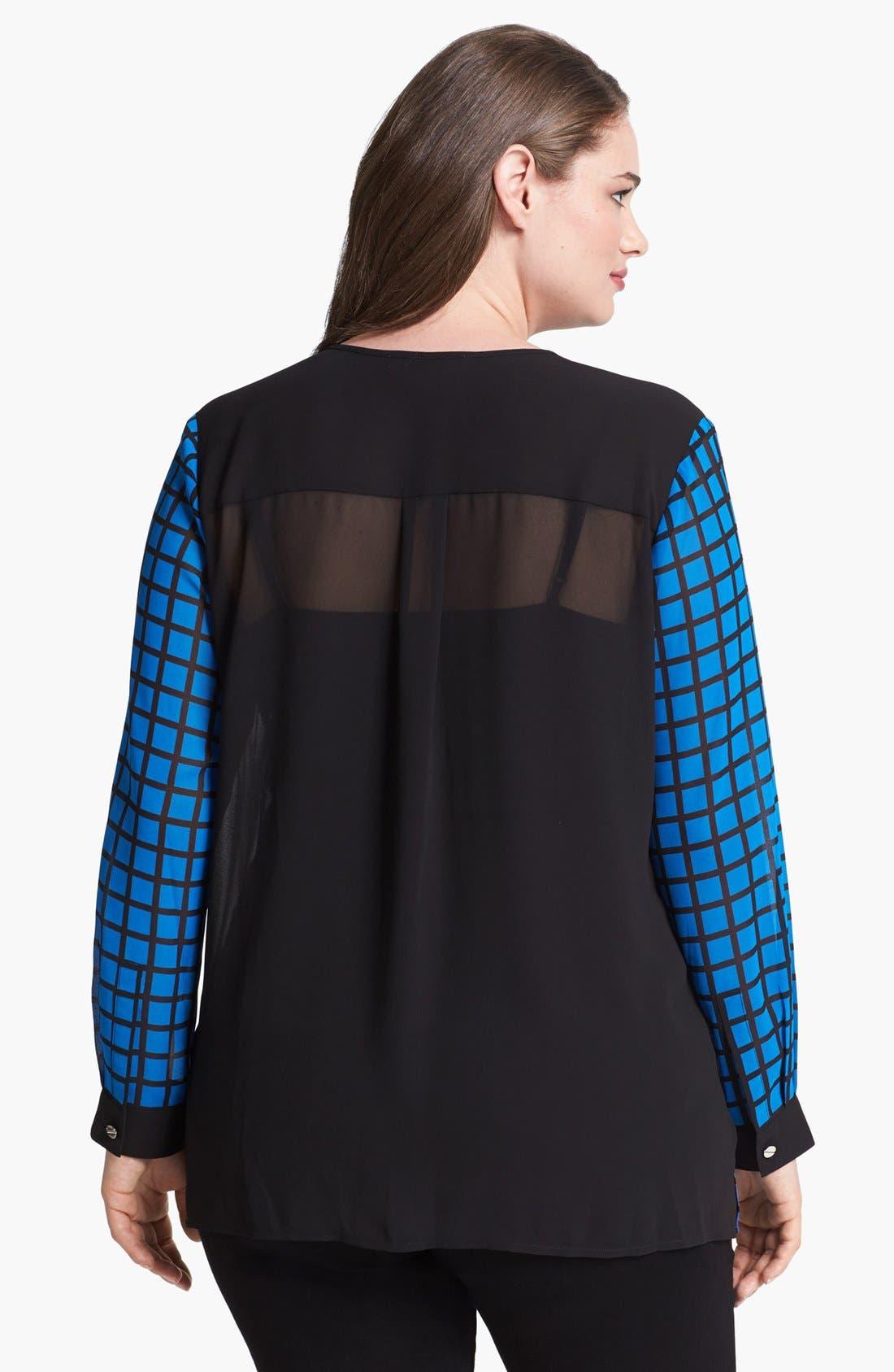 Alternate Image 2  - MICHAEL Michael Kors Zip Shoulder Print Blouse (Plus Size)