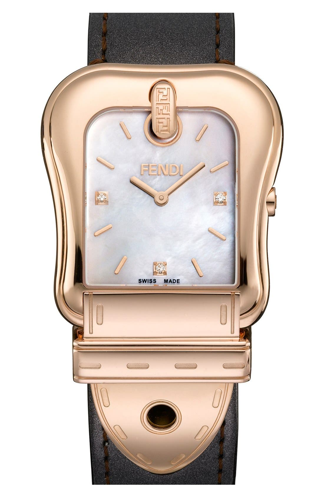 Alternate Image 1 Selected - Fendi 'B. Fendi' Diamond Marker Watch, 33mm x 43mm