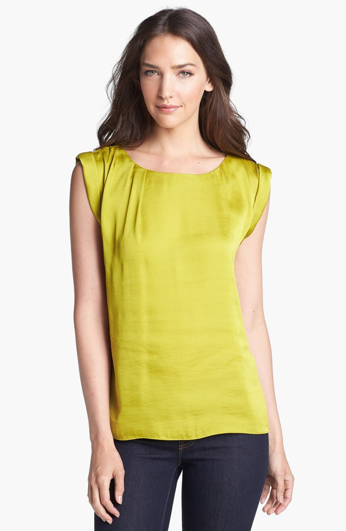 Main Image - Vince Camuto Boatneck Roll Sleeve Blouse (Petite)