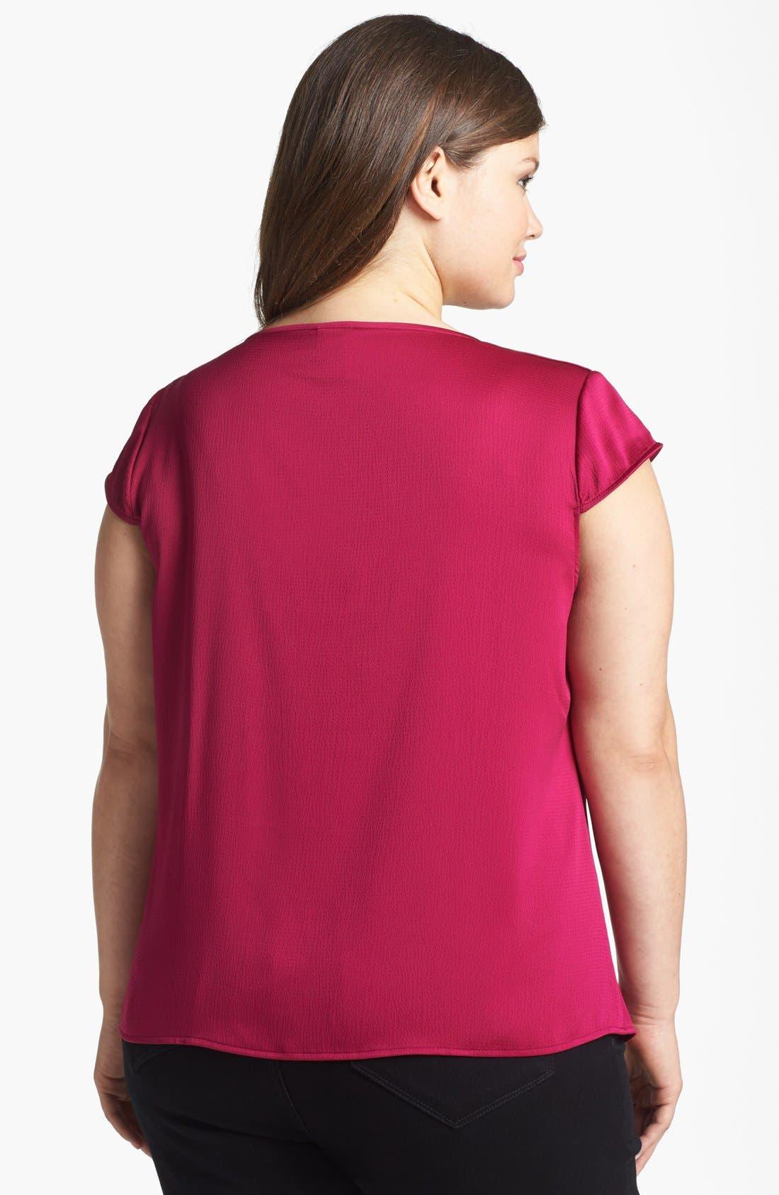 Alternate Image 2  - Anne Klein Textured Satin Blouse (Plus Size)