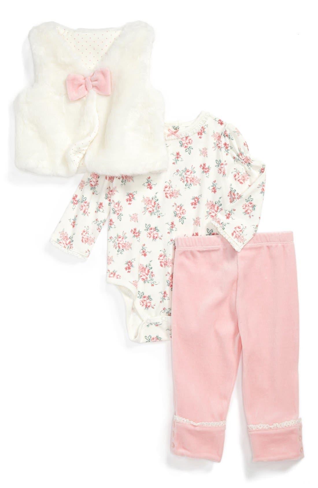 Alternate Image 1 Selected - Little Me Vest, Bodysuit & Leggings (Baby Girls)