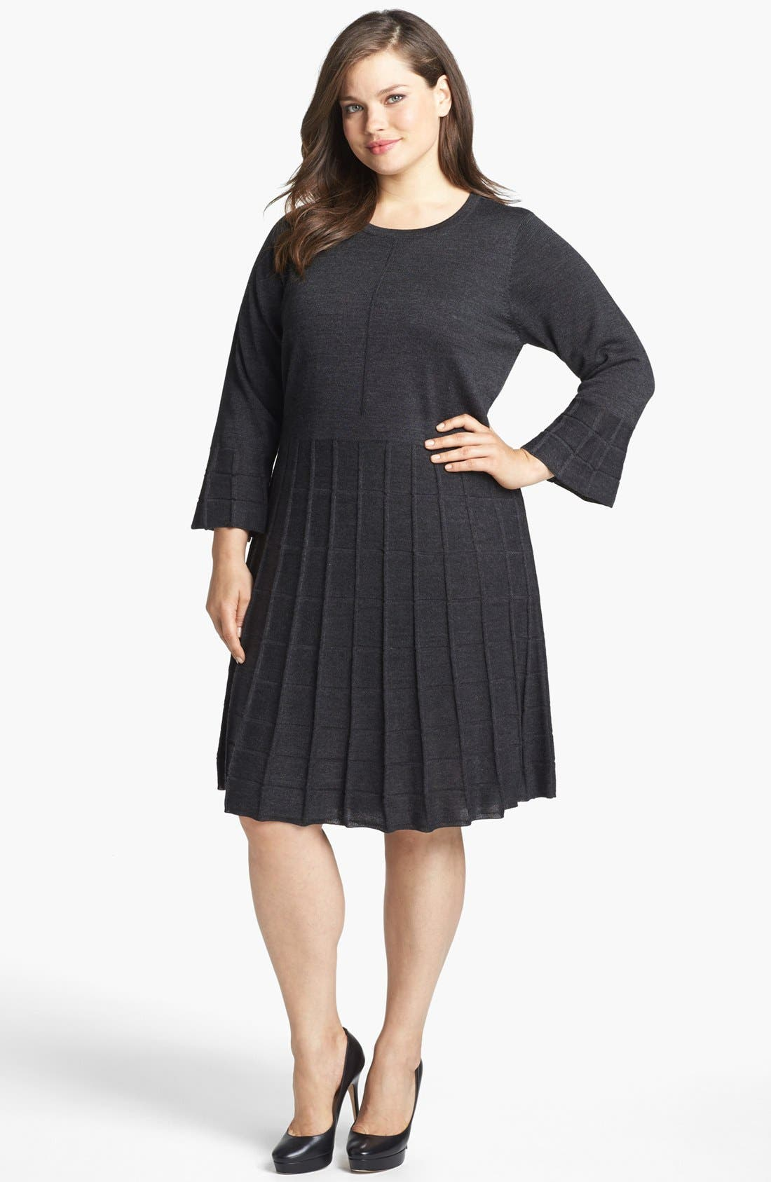Alternate Image 1 Selected - Calvin Klein Fit & Flare Textured Sweater Dress (Plus Size)