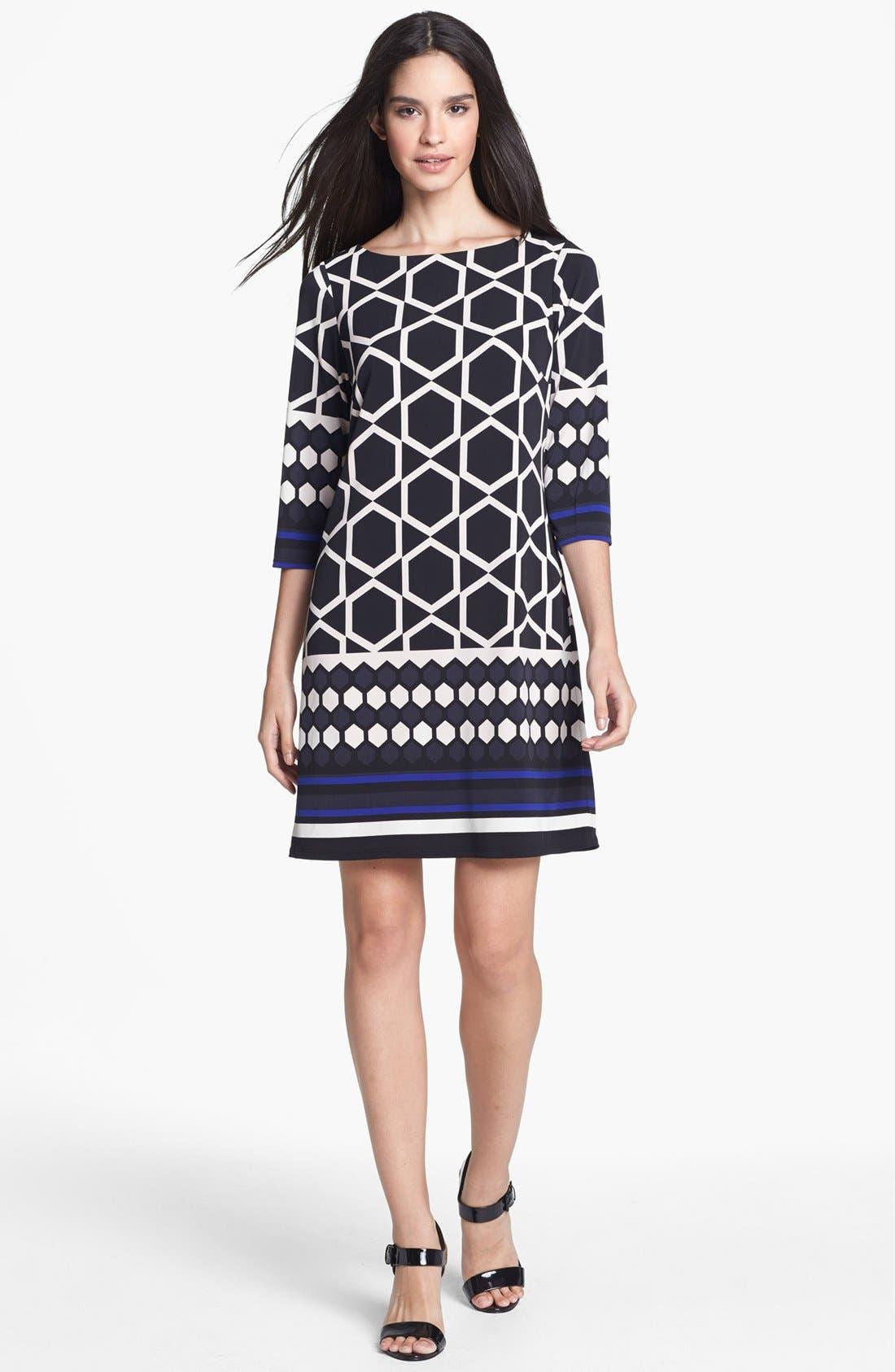 Main Image - Eliza J Border Print Jersey Shift Dress