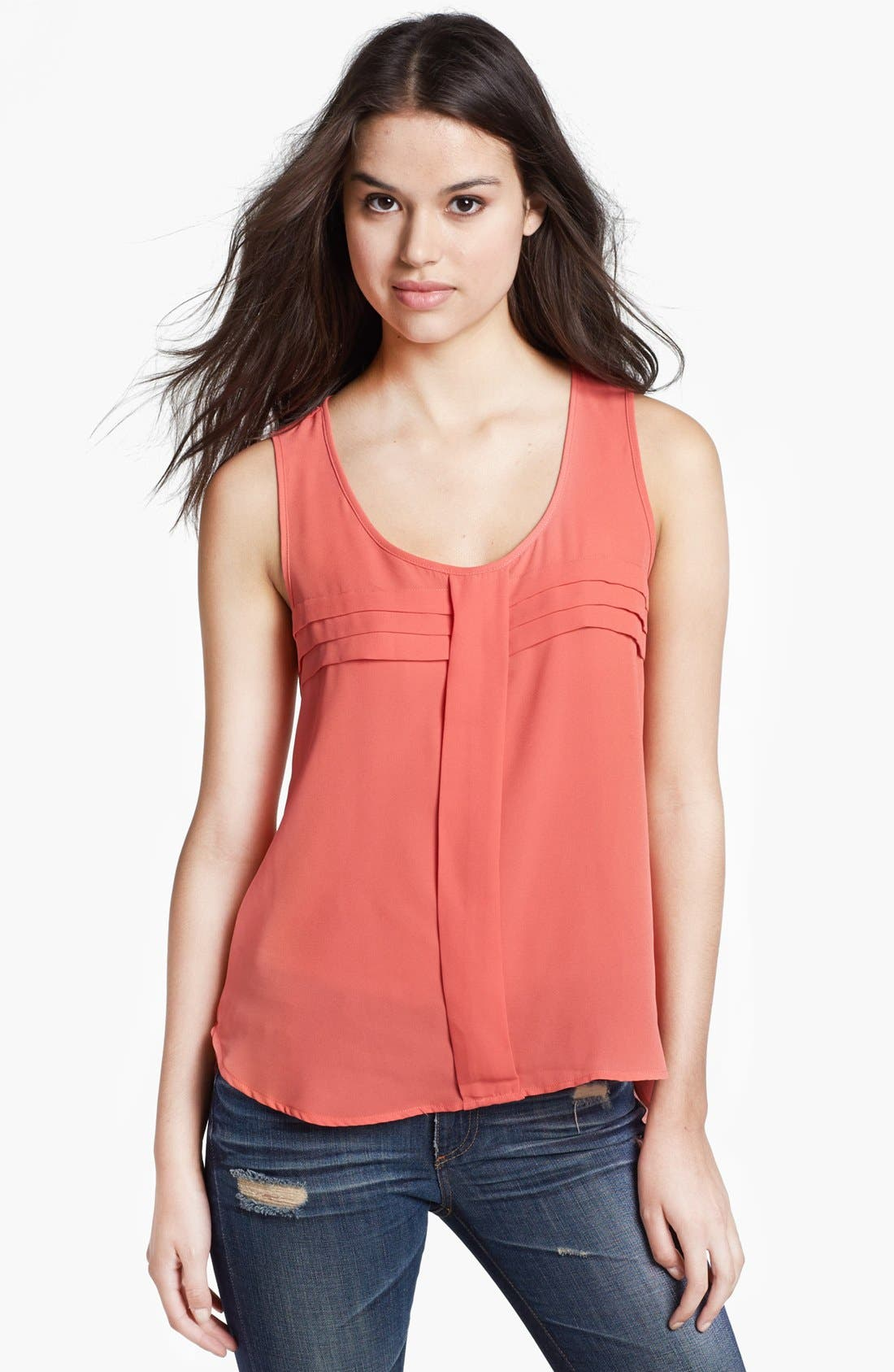 Alternate Image 1 Selected - Pleione Pleated Woven High/Low Tank