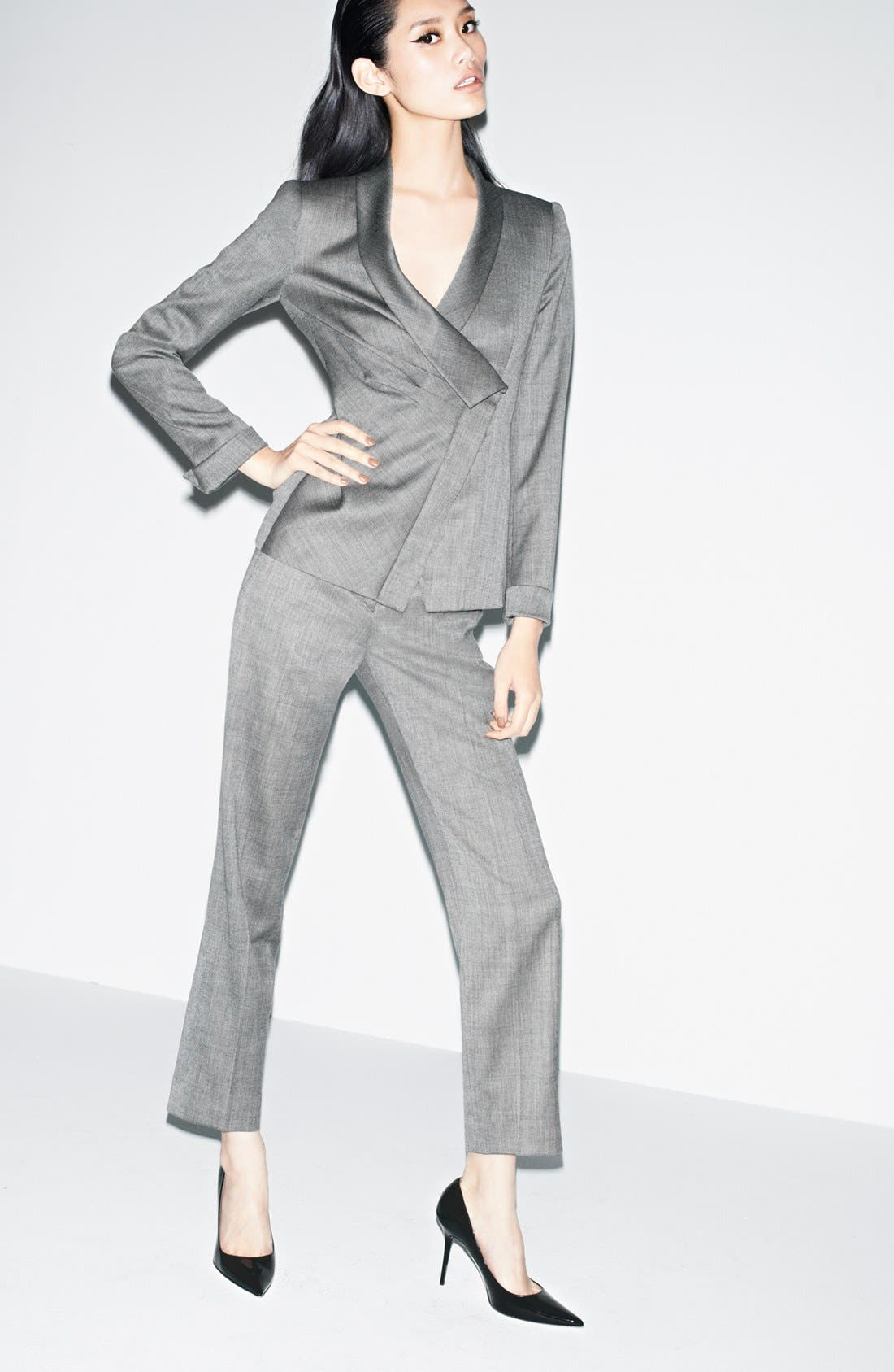 Alternate Image 5  - Armani Collezioni Asymmetrical Micro Herringbone Jacket