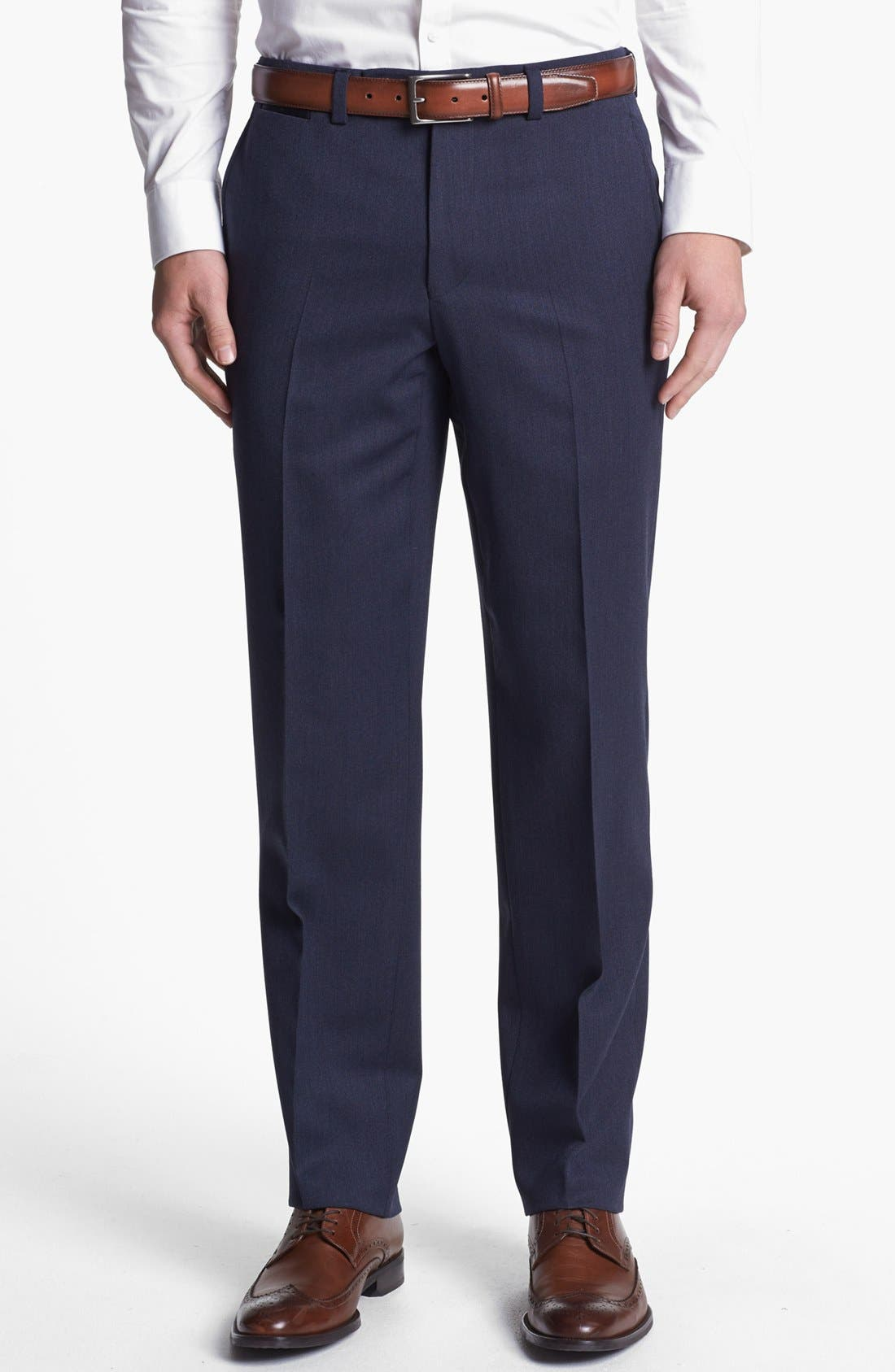 Main Image - Ted Baker London Flat Front Tricotine Trousers