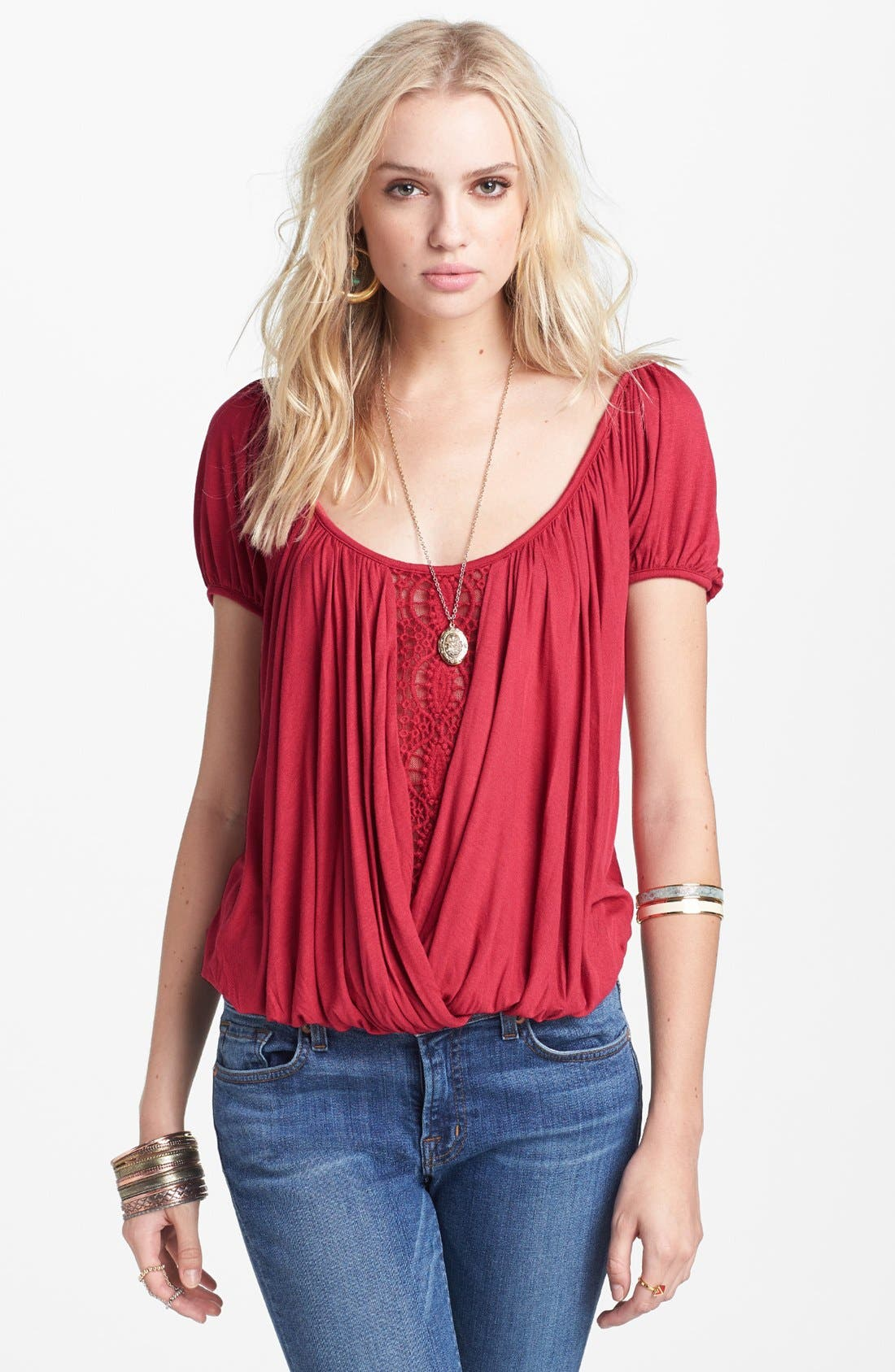 Main Image - Free People 'Anns' Crochet Trim Gathered Top