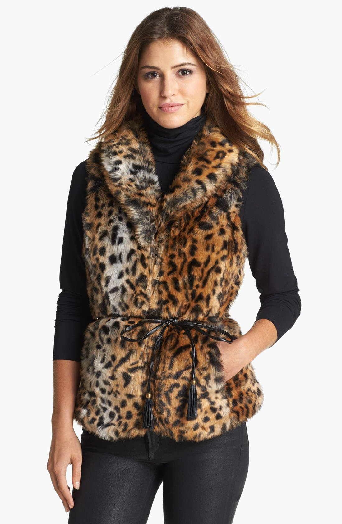 Main Image - Damselle Belted Faux Fur Vest (Online Only)