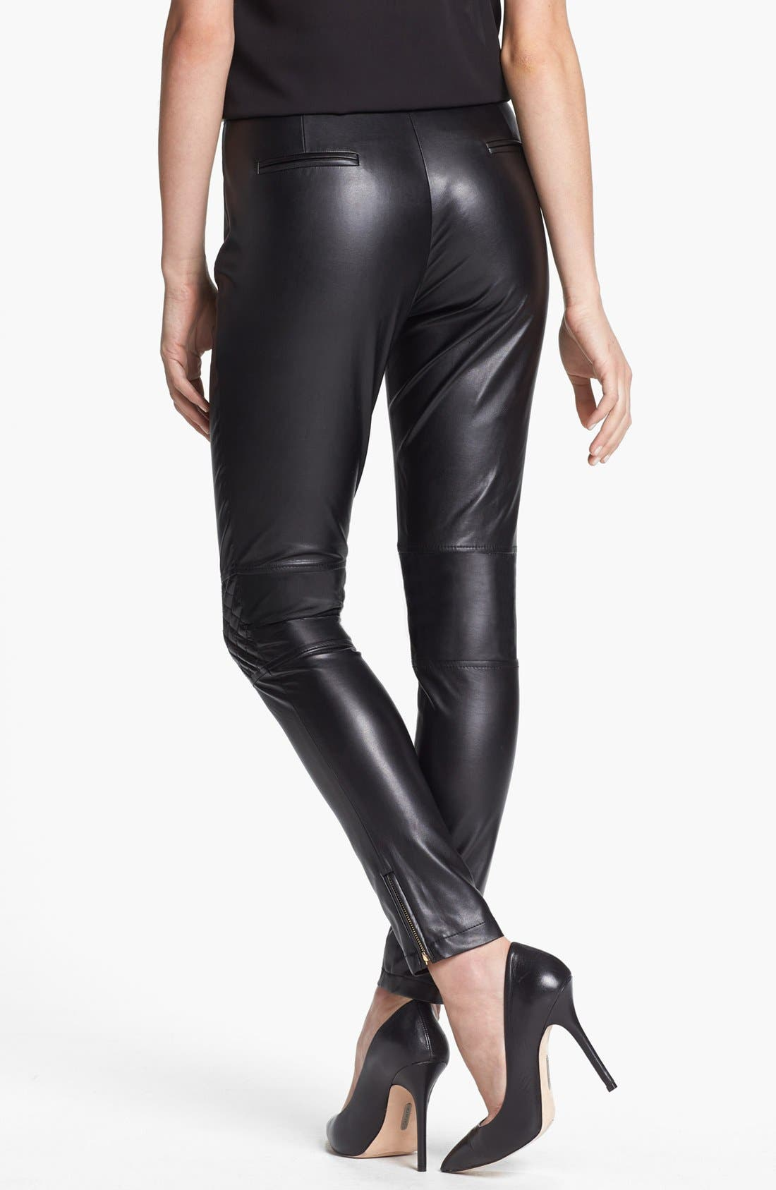 Alternate Image 4  - Vince Camuto Quilted Detail Faux Leather Pants (Regular & Petite)
