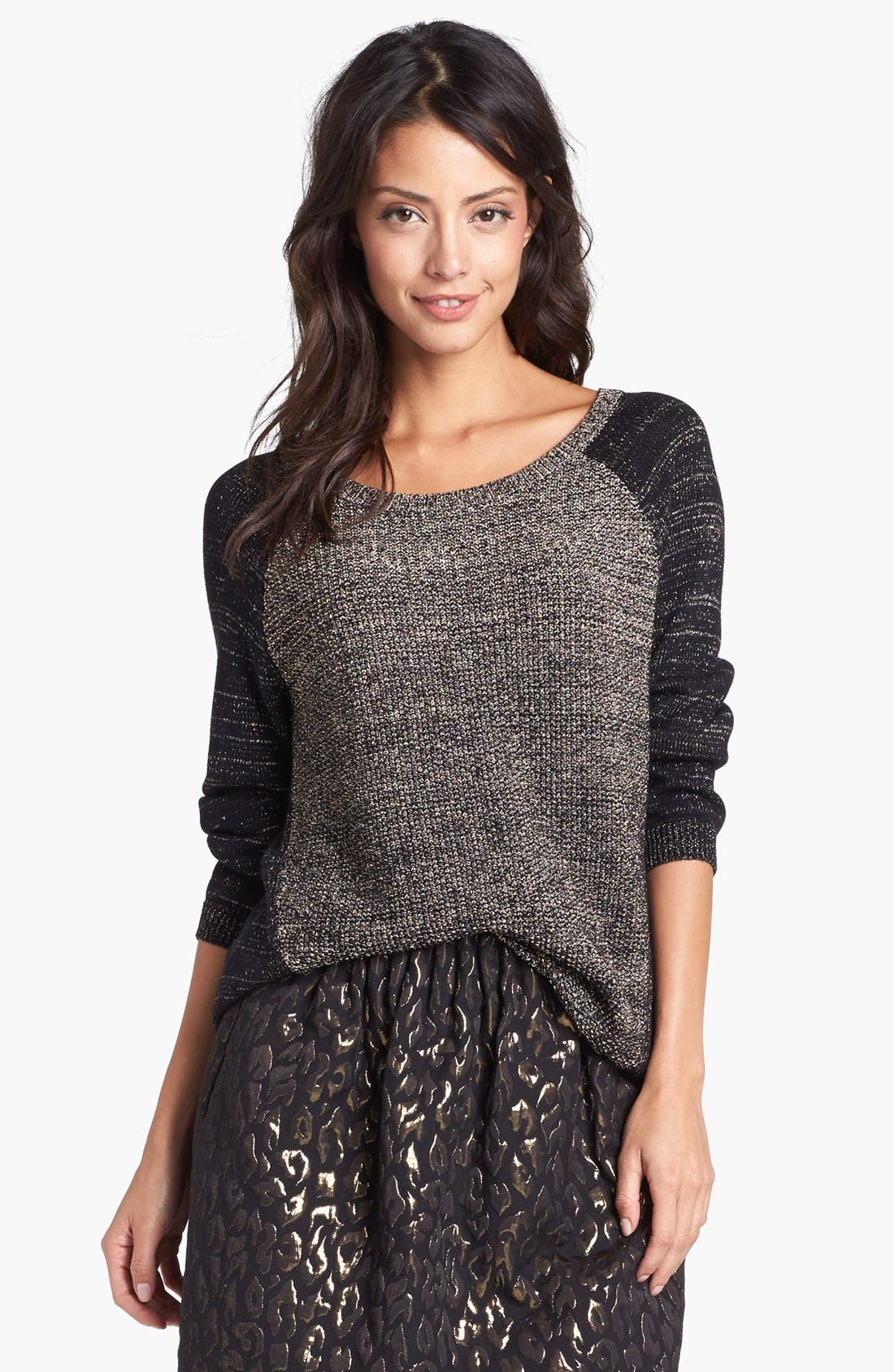Alternate Image 1 Selected - Kenneth Cole New York 'Paiten' Metallic Pullover (Petite)