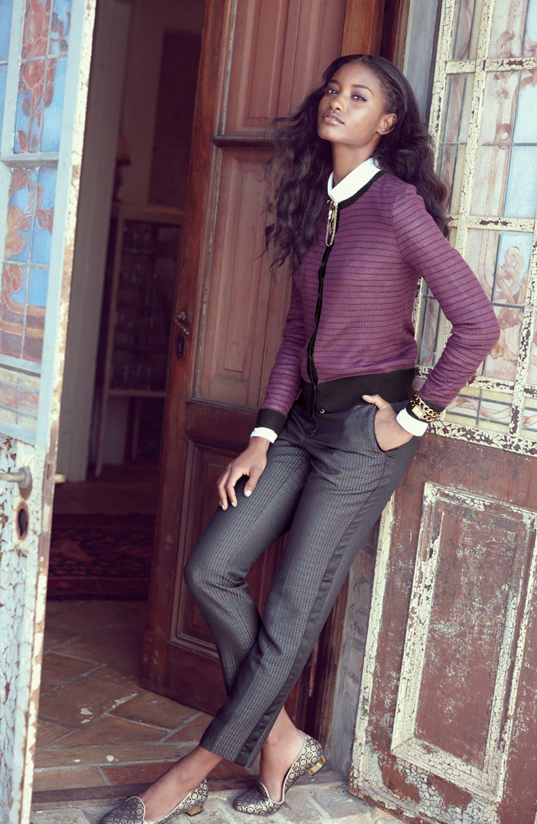 Alternate Image 4  - Halogen® 'Quinn' Tuxedo Jacquard Skinny Ankle Pants